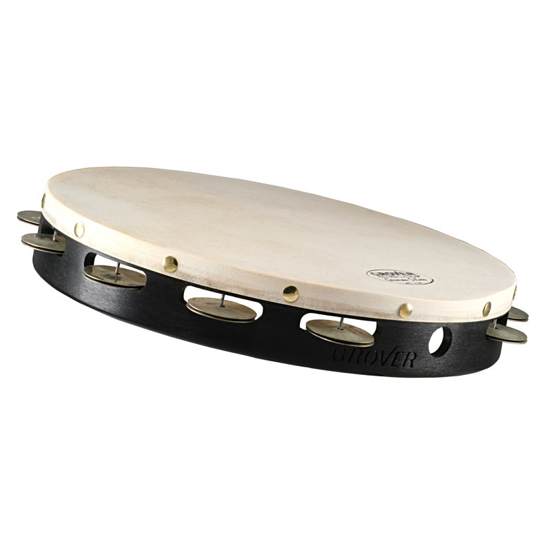 "Grover Pro 12"" Projection-Plus Single Row German Silver Tambourine (Natural Head)"