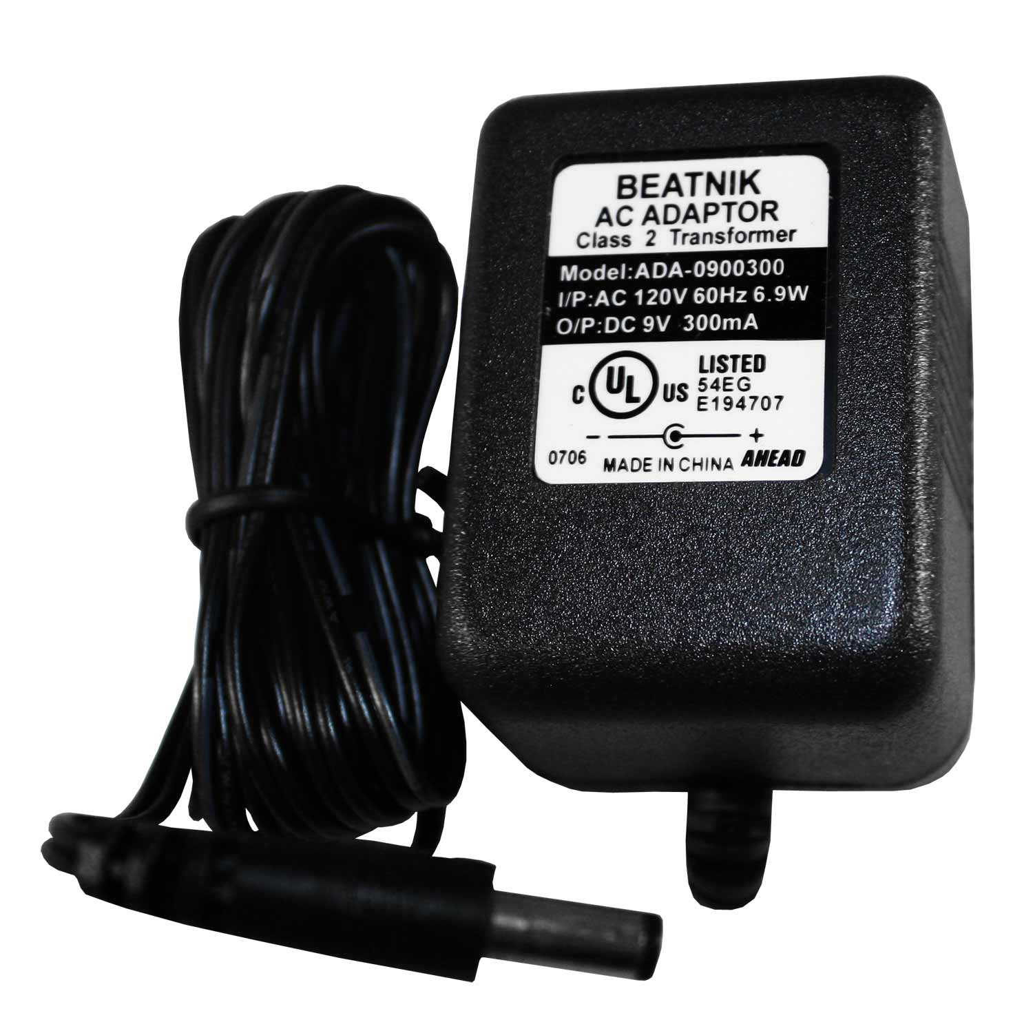 Beatnik AC Adapter, 9V, 300mA
