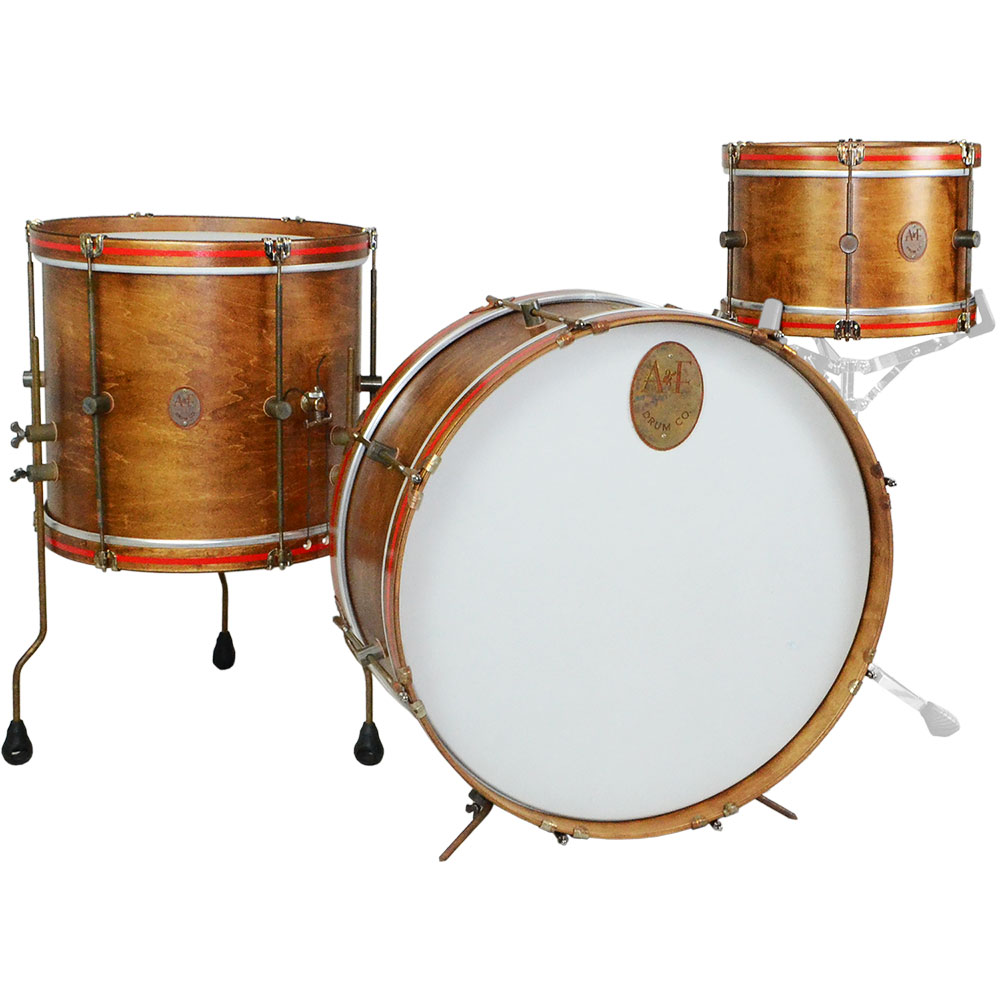 "A&F Drum Co. 3-Piece Whiskey Maple Field Drum Set Shell Pack (24"" Bass, 13"" Tom, and 16"" Snom)"