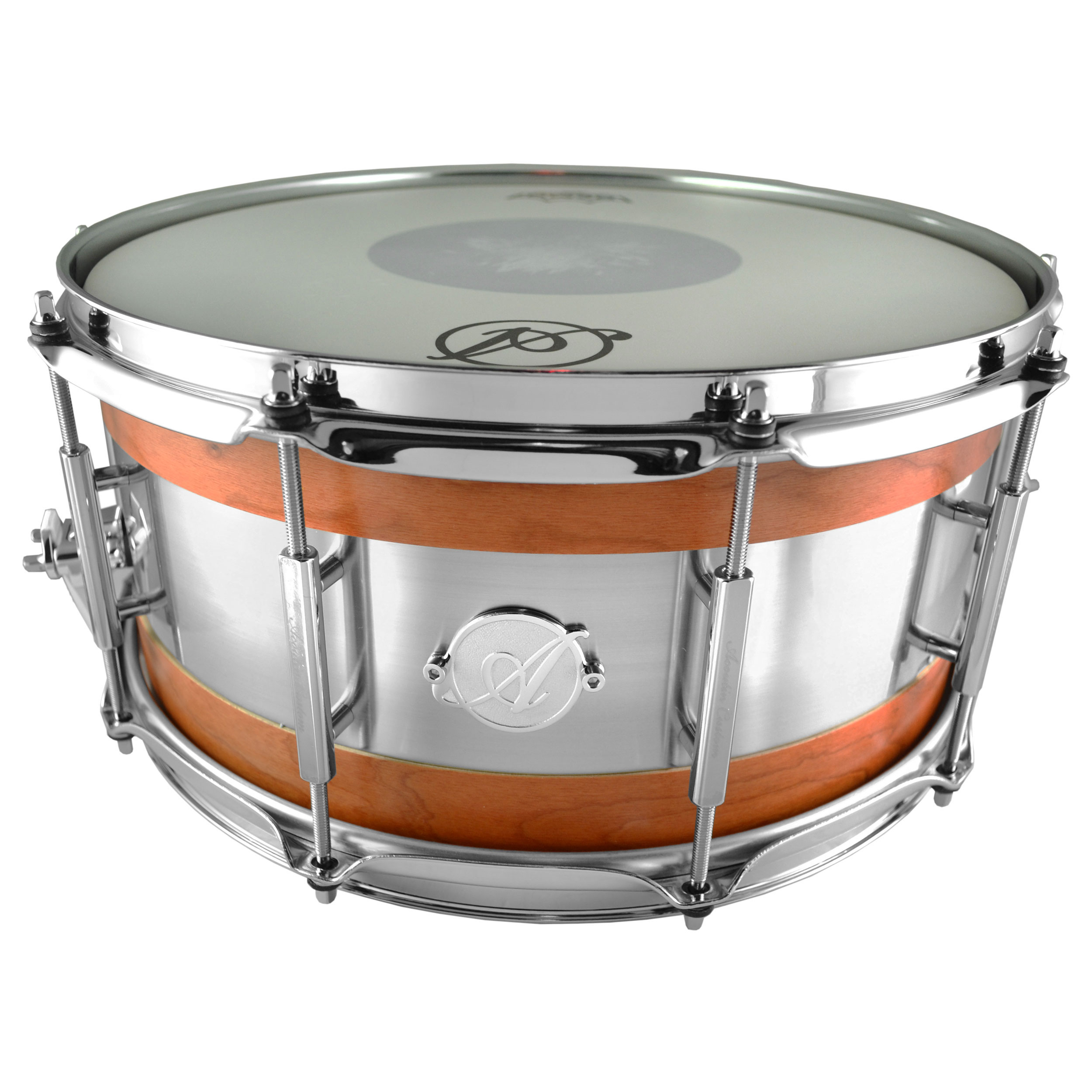 """Acoutin 6.5"""" x 14"""" Cherry & Brushed Stainless Steel Snare Drum in Matte Lacquer"""