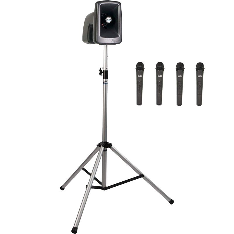 Anchor Audio MegaVox Basic Package 4 Includes MEGA2-U4 PA System, SS-550 Stand, and Four Wireless Headband Microphones with Belt Packs