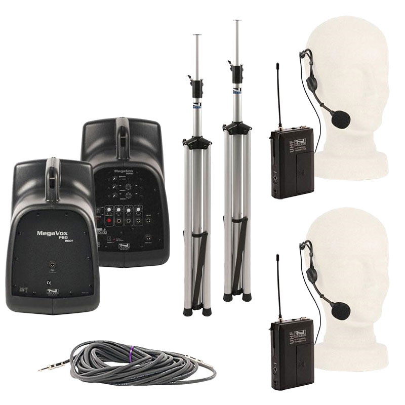 Anchor Audio MegaVox Dual Deluxe Package with 2 Beltpack Transmitters (WB-8000) and 2 Headband Mics (HBM-TA4F)