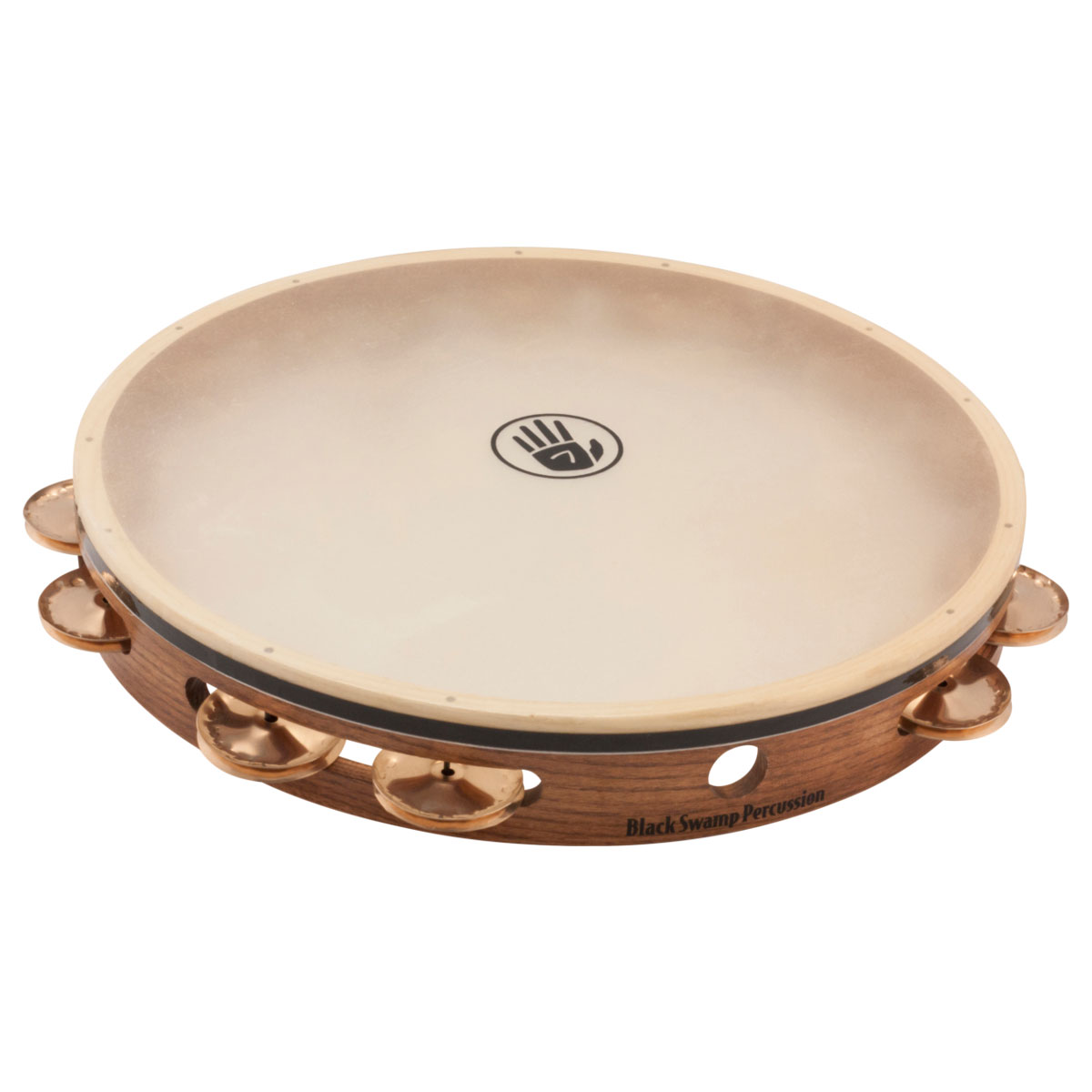 "Black Swamp 12"" SoundArt Single Row Beryllium Copper Tambourine (Natural Head)"
