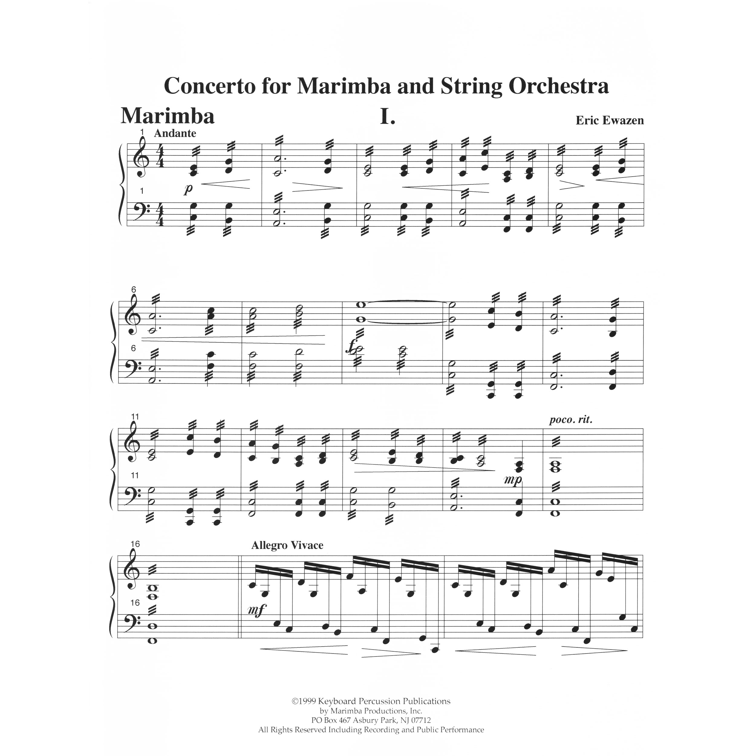 Concerto for Marimba and Orchestra (Piano Reduction) by Eric Ewazen