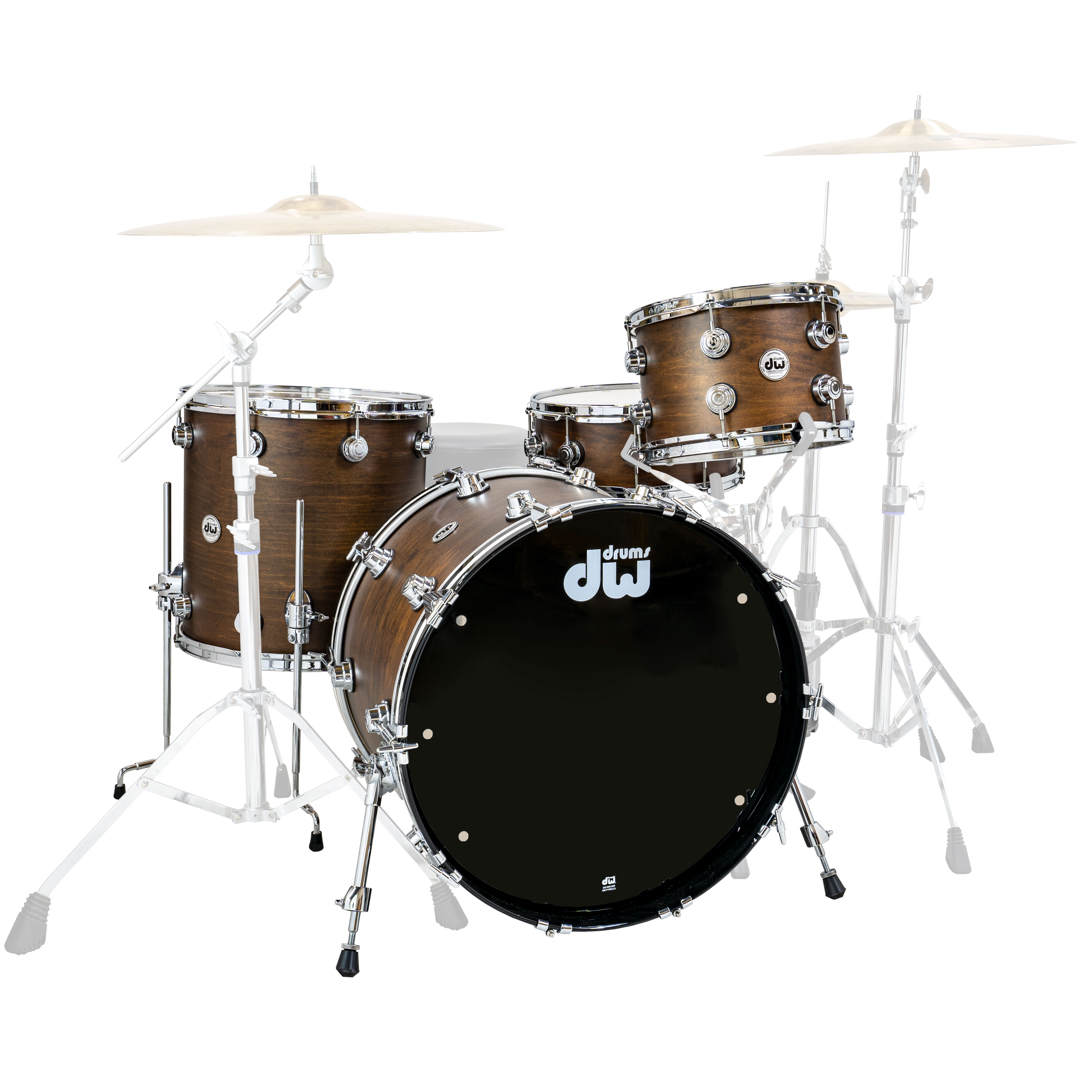 """DW Santa Monica 4-Piece Drum Set Shell Pack (22"""" Bass, 12/16"""" Toms, 14"""" Snare) in Satin Oil"""