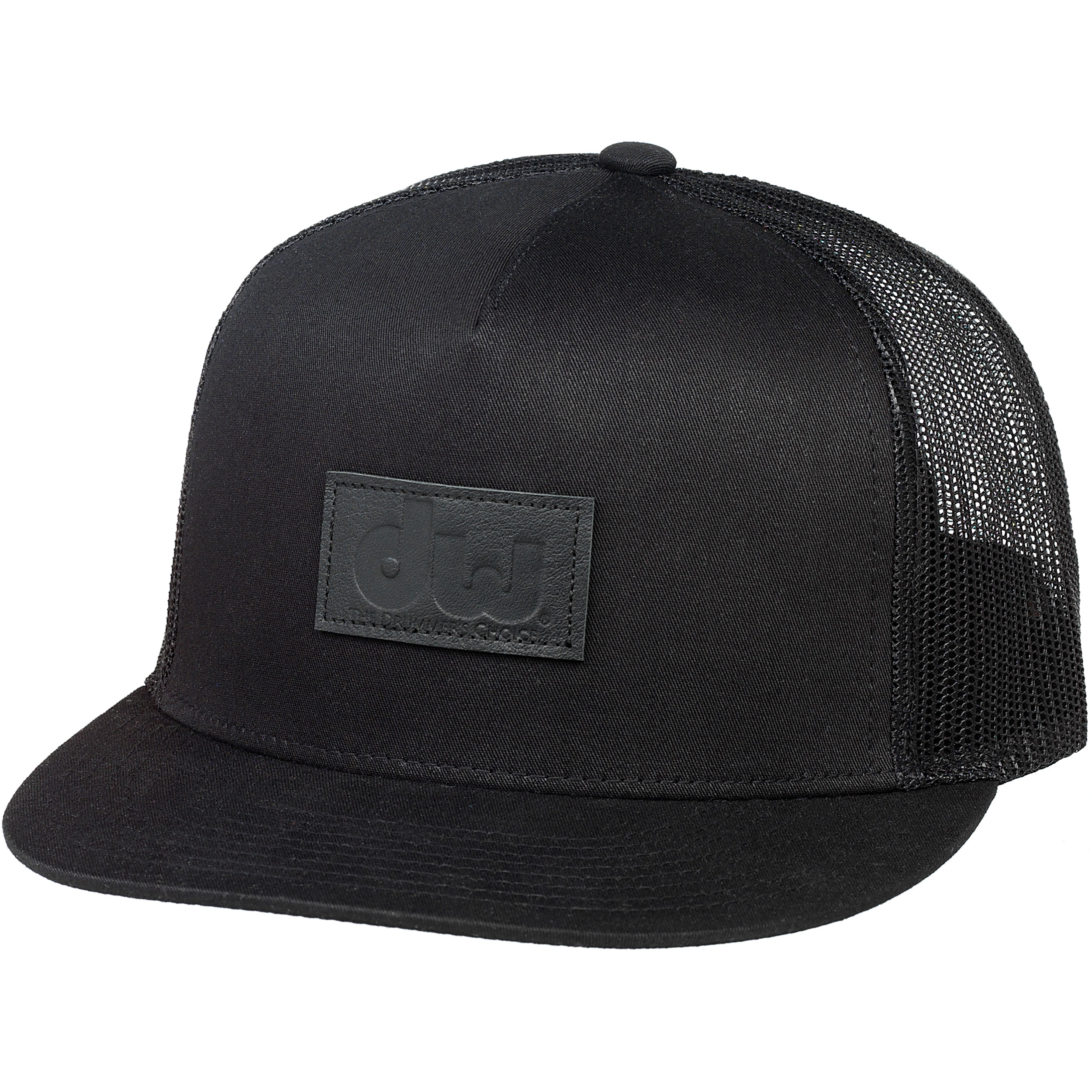 DW Black Trucker Cap with Leather Patch Logo