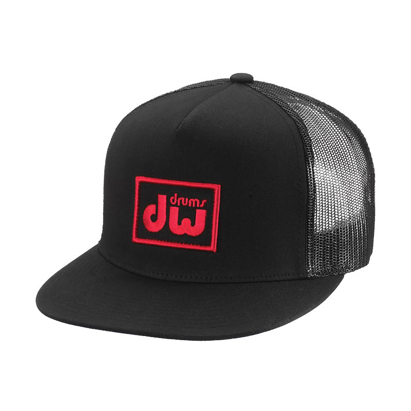 DW Black Trucker Cap with Red Logo