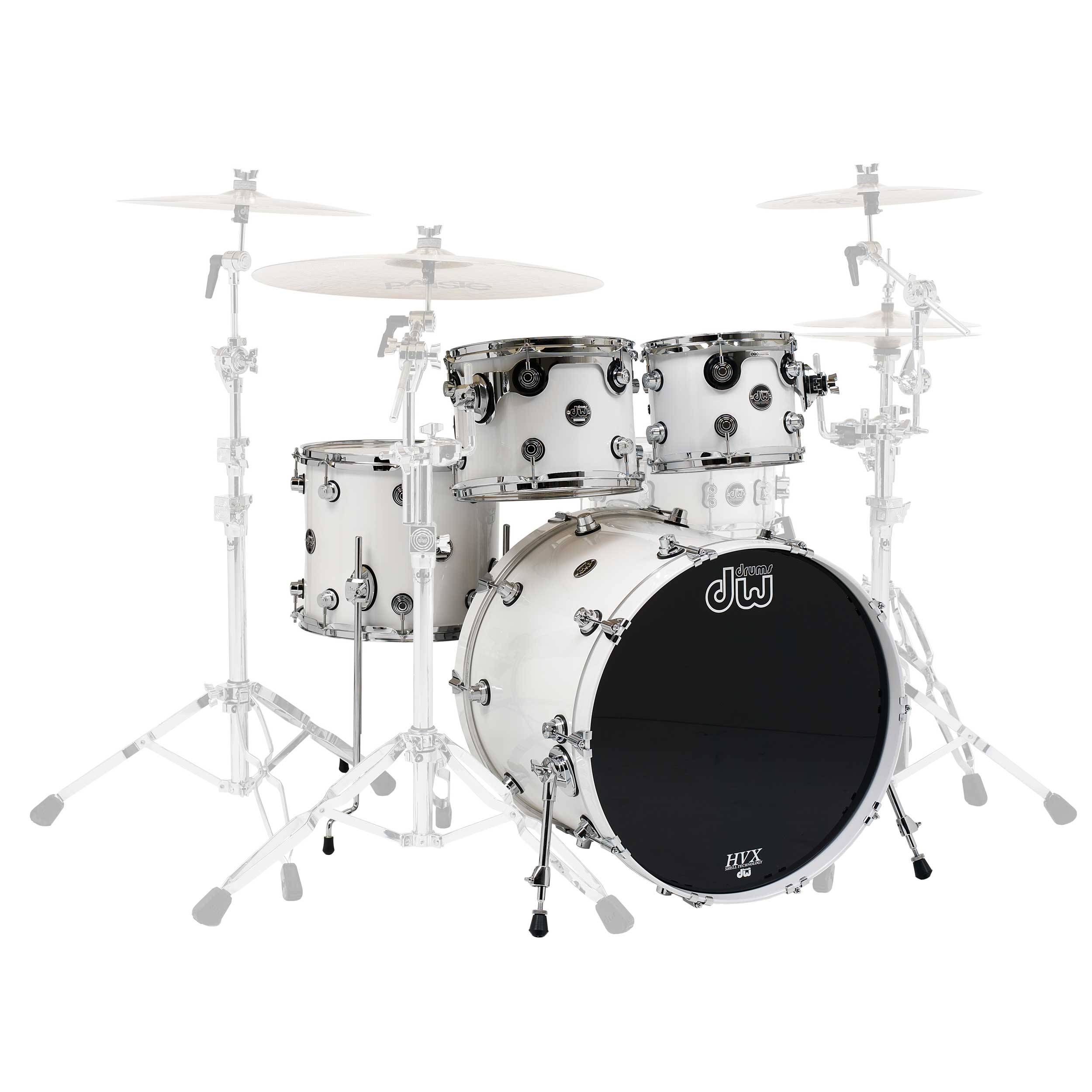 "DW Performance Series 4-Piece Drum Set Shell Pack (22"" Bass, 10/12/16"" Toms) in White Ice"