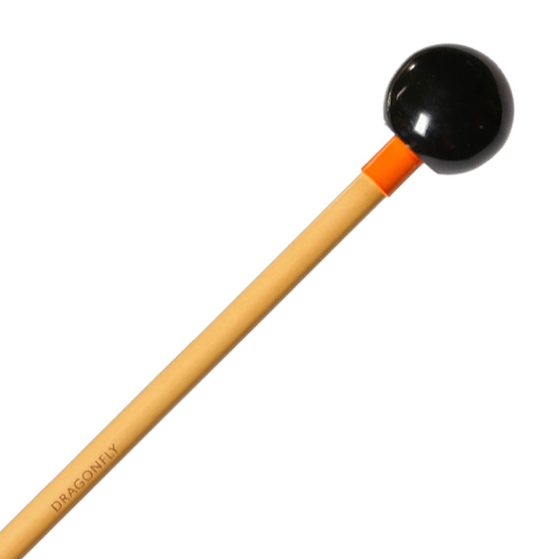 "Dragonfly Percussion 1"" Black Phenolic Bell Mallets with Rattan Handles"
