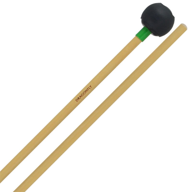 "Dragonfly Percussion 1"" Black ""Celeste"" Bell Mallets with Rattan Handles"