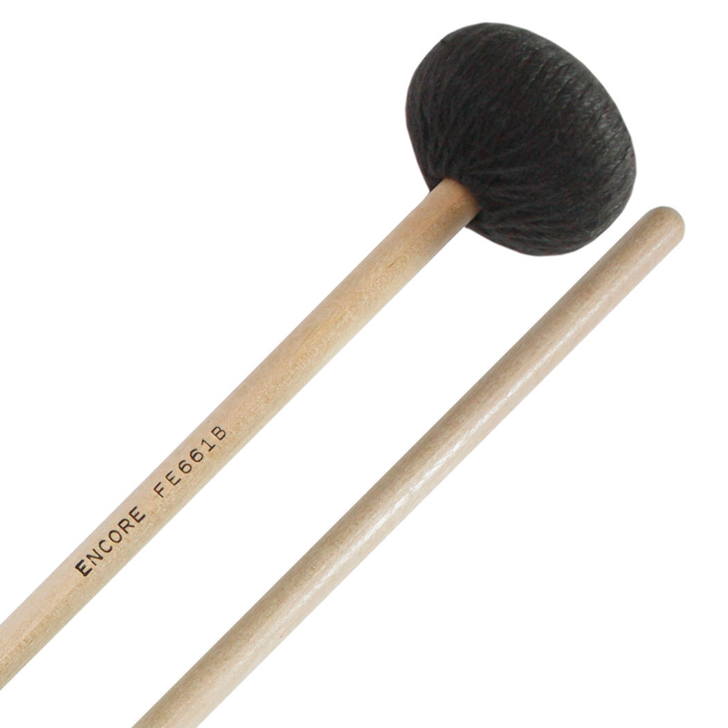 Encore Black Low End Yarn Front Ensemble Keyboard Mallets with Birch Shafts