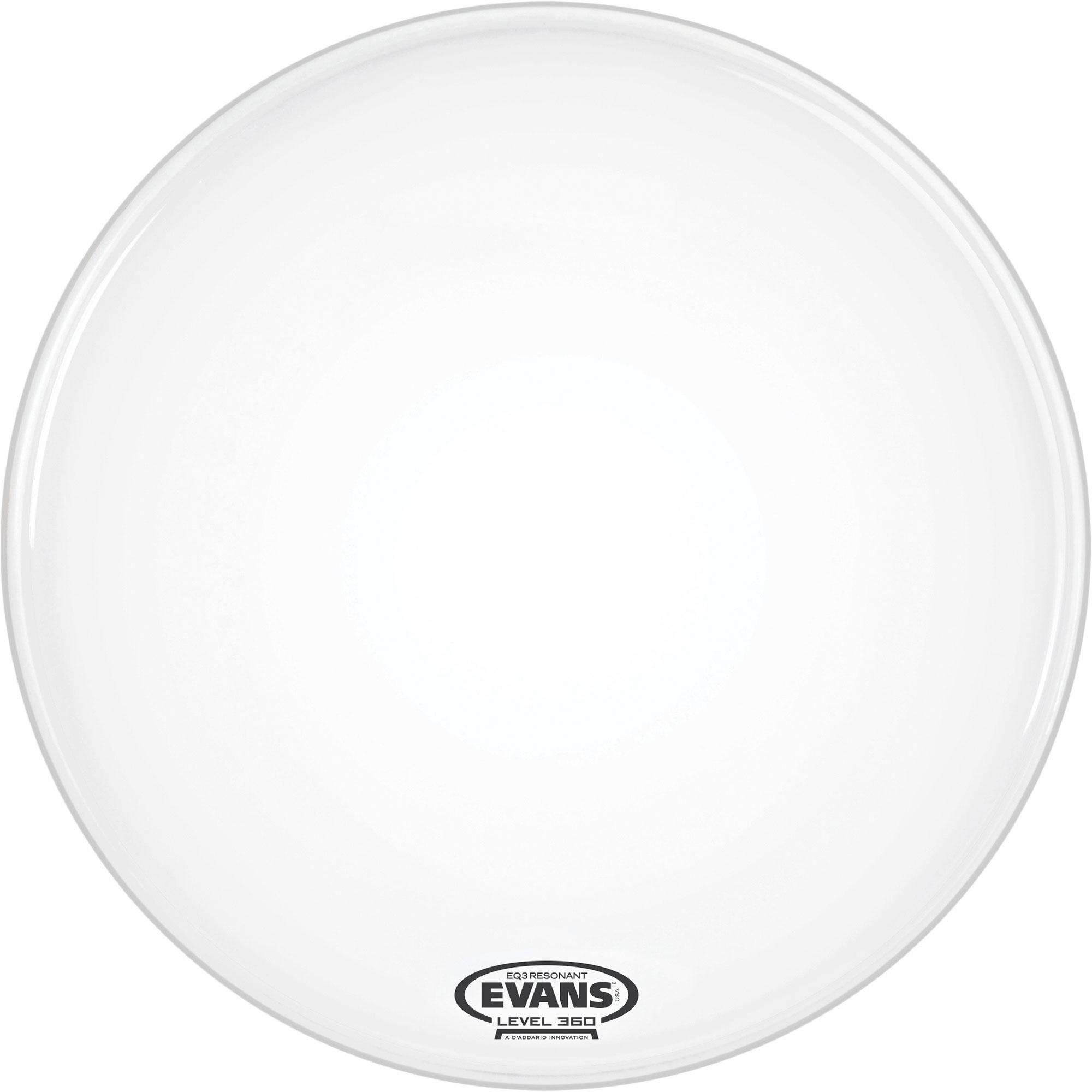"Evans 18"" EQ3 Resonant Coated White Bass Drum Head without Port"