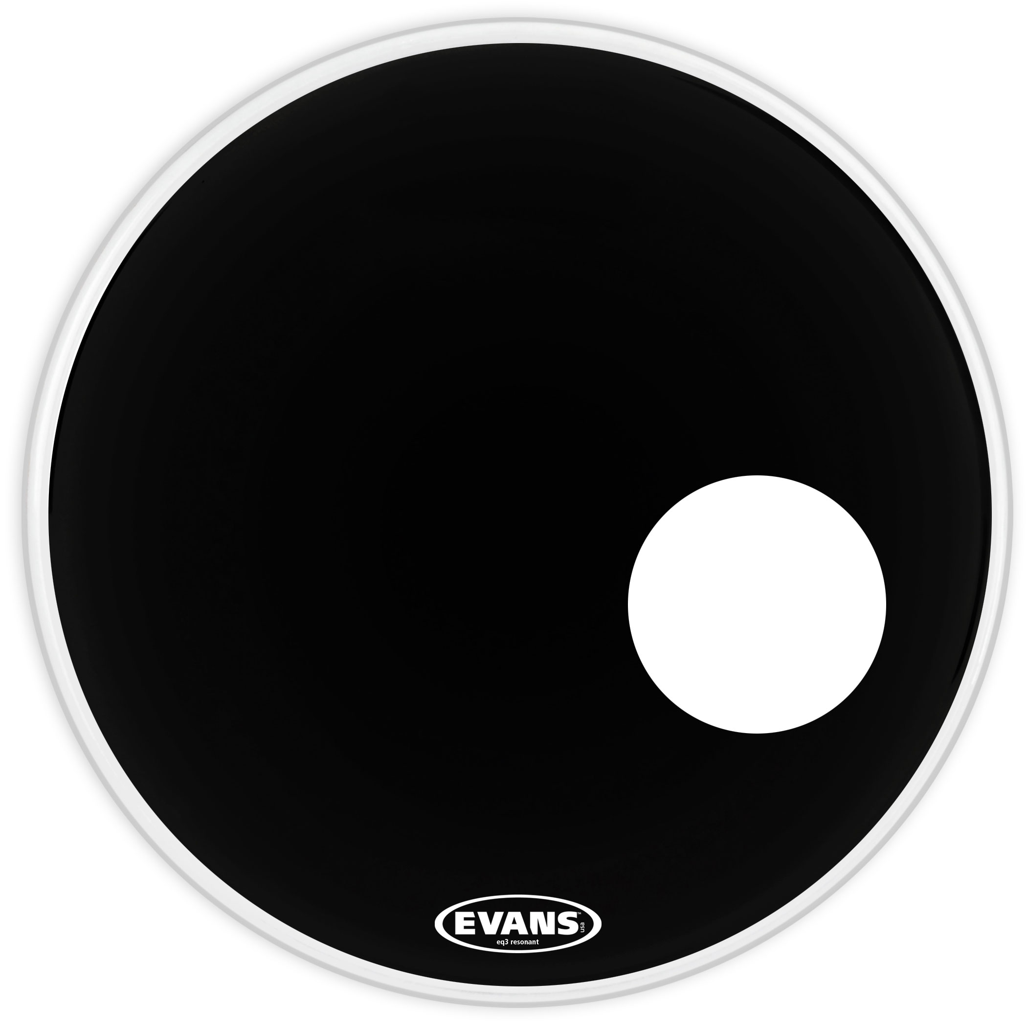 "Evans 24"" EQ3 Resonant Black Bass Head"