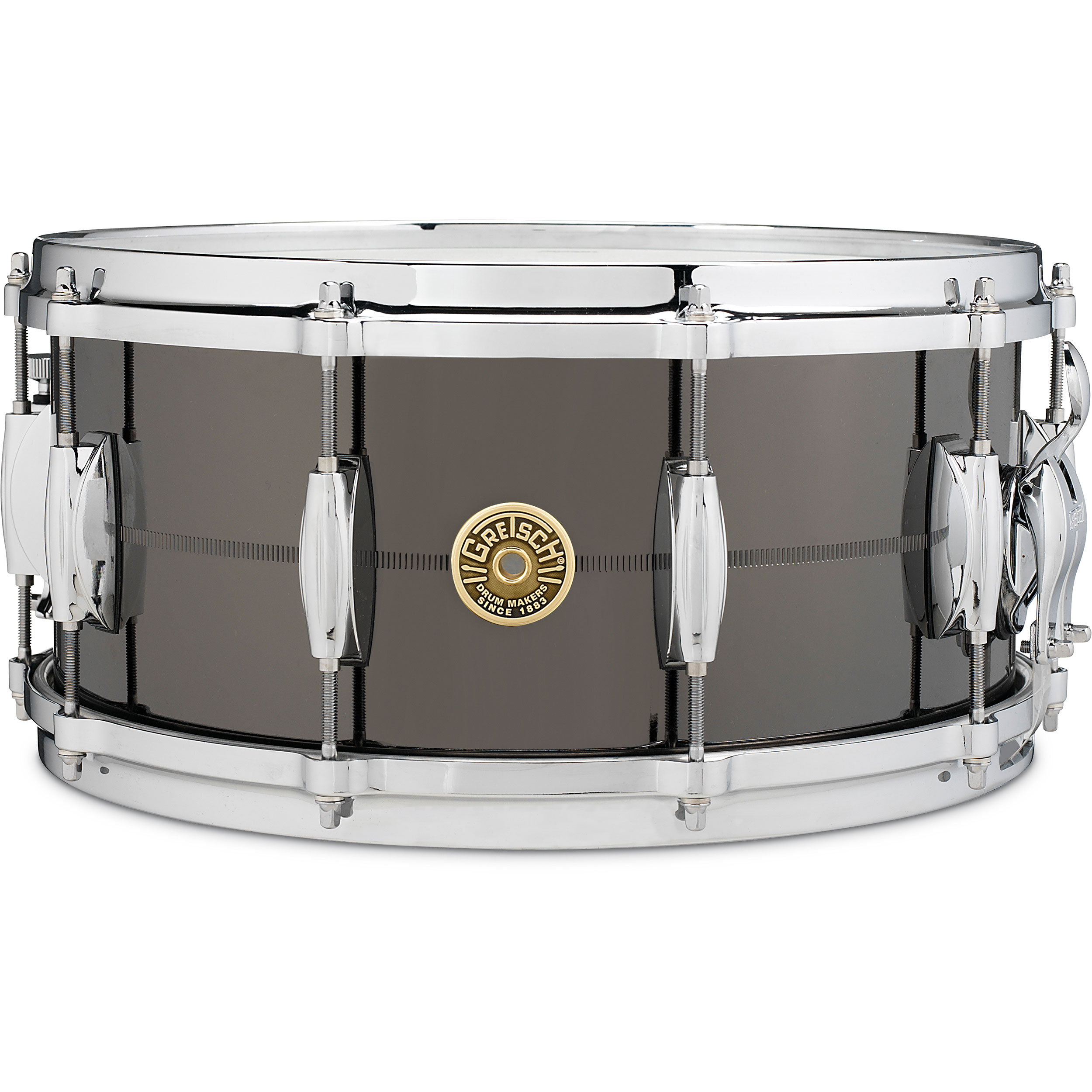 "Gretsch 6.5"" x 14"" USA Solid Cast Steel Snare Drum in Black Nickel"