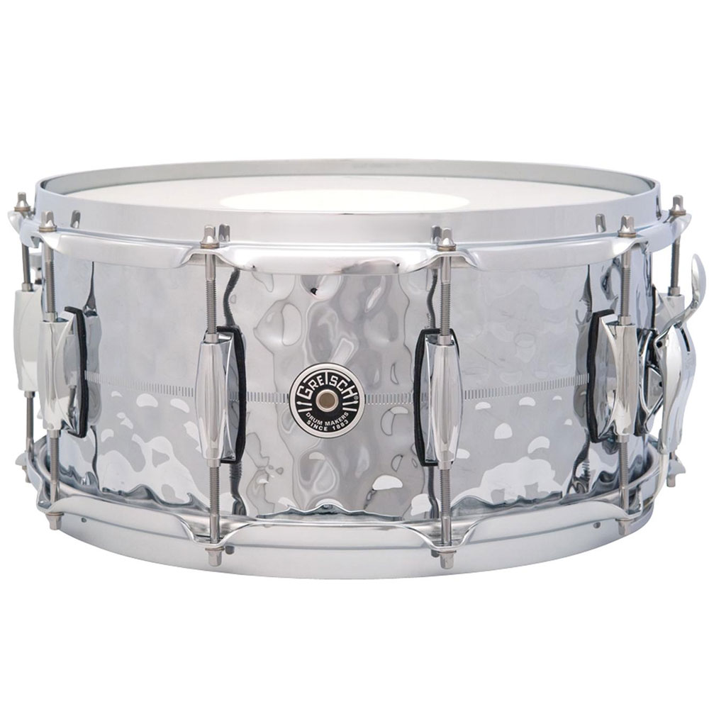 "Gretsch 6.5"" x 14"" USA Brooklyn Metal Hammered Chrome Brass Snare Drum"