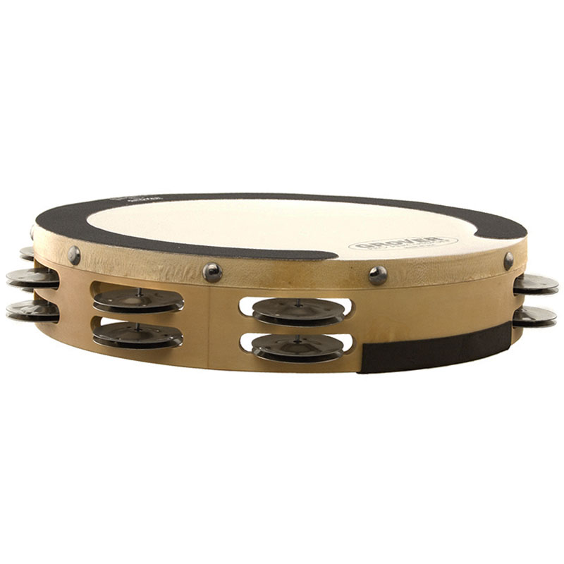 "Grover Pro 10"" Sound Values Double Row German Silver Tambourine (Natural Head)"