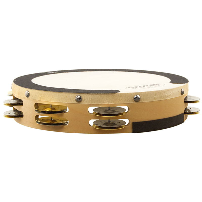 "Grover Pro 10"" Sound Values Double Row German Silver & Brass Tambourine (Natural Head)"