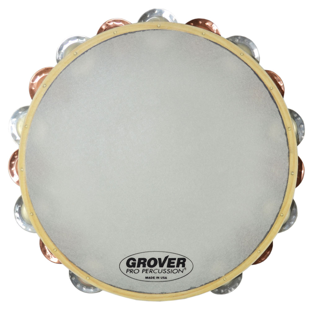 "Grover Pro 10"" X-Series Double Row German Silver & Beryllium Bronze Tambourine (Synthetic Head)"