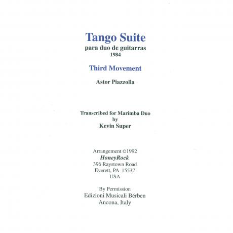 Tango Suite Mvt. III by Astor Piazzolla arr. Kevin Super