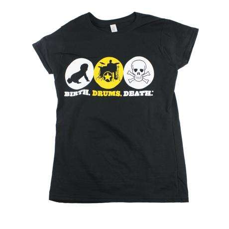 Lone Star Percussion Ladies' Birth Drums Death Drummer T-Shirt (Graphic)