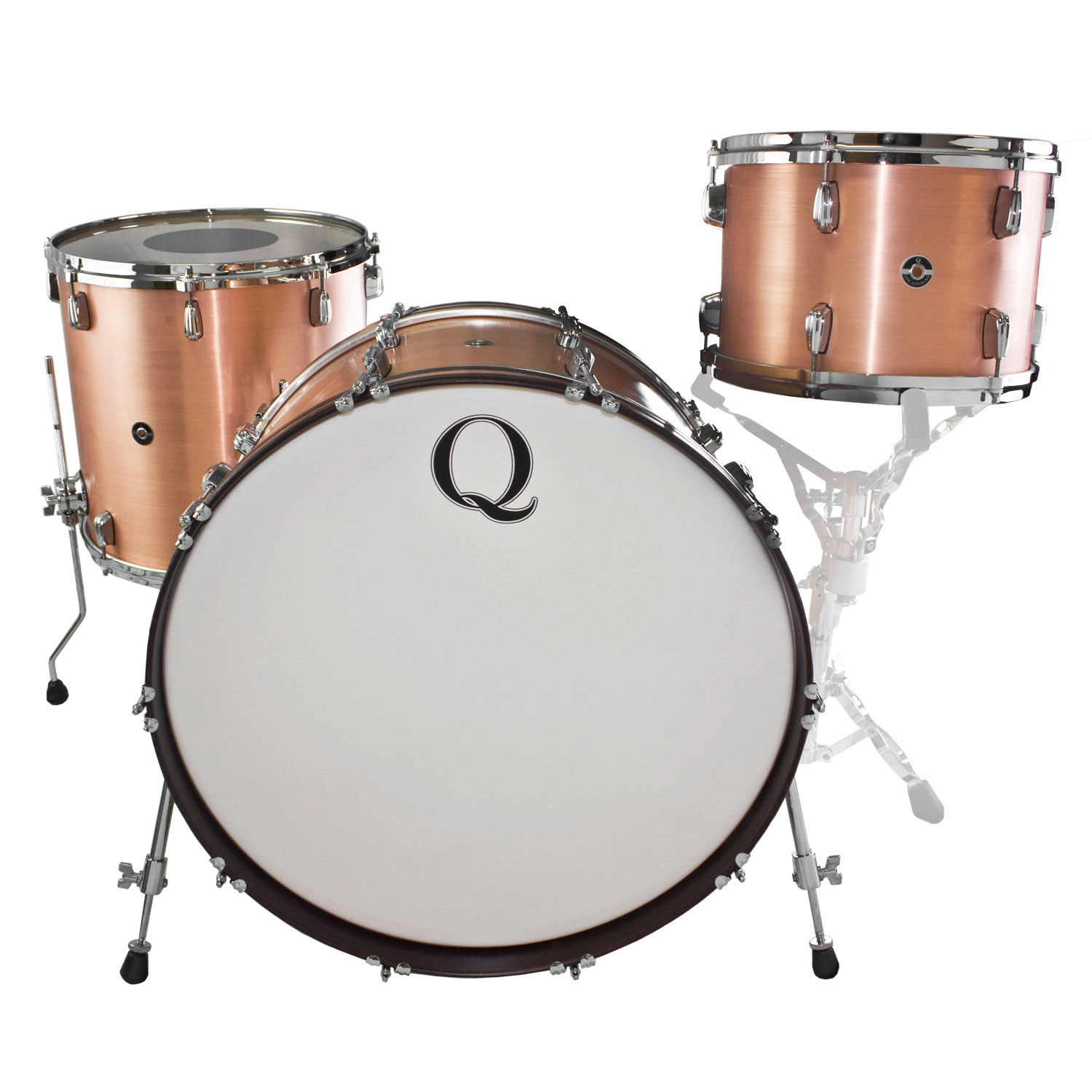 "Q Drum Co. Satin-Brushed Copper 3-Piece Drum Set Shell Pack (24"" Bass, 13/16"" Toms)"