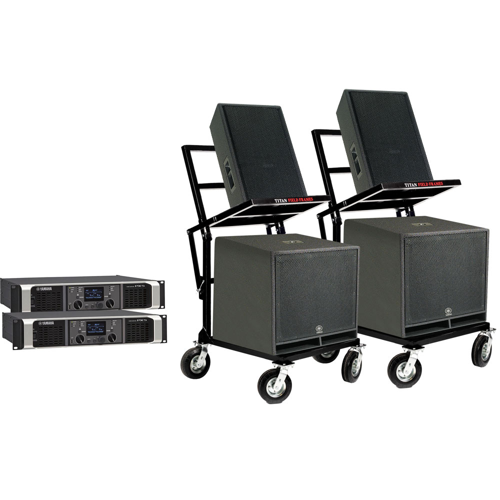 Lone Star Percussion 4000 Series Marching Audio Speaker/Amp/Cart Package