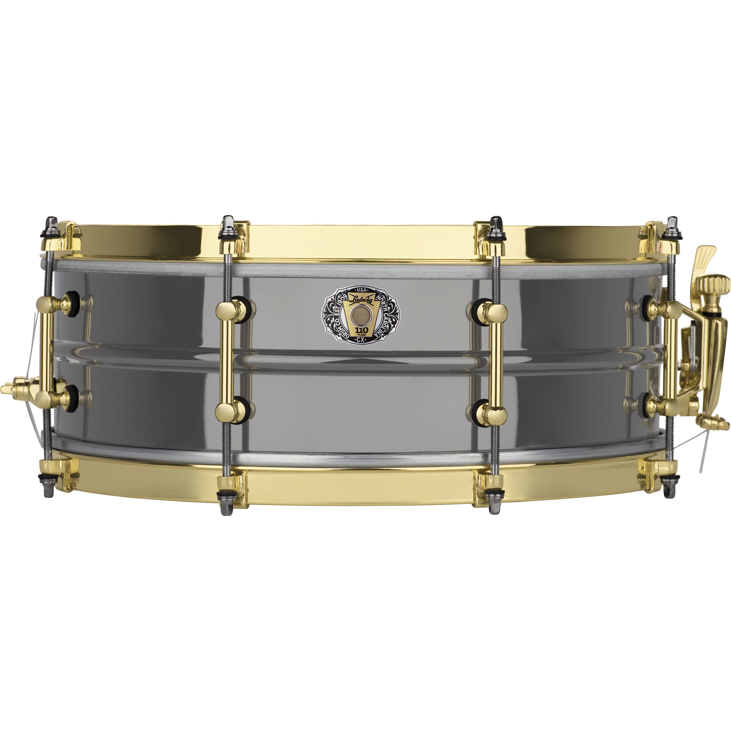 "Ludwig 5"" x 14"" 110th Anniversary Black Beauty Snare Drum with Brass Hardware"