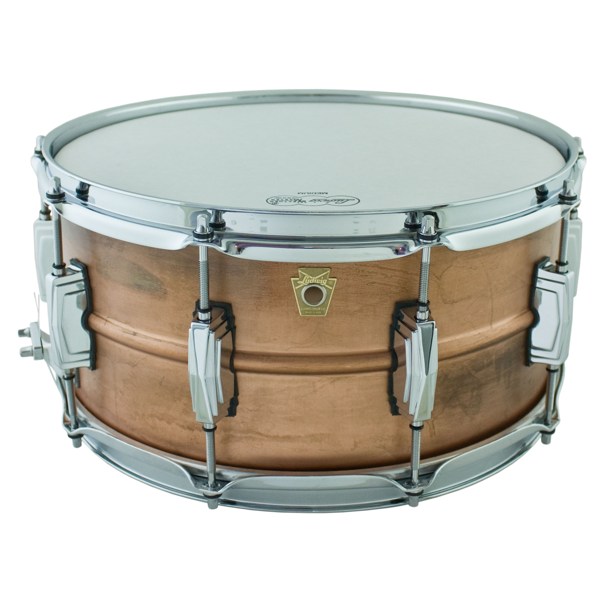"Ludwig 6.5"" x 14"" Raw Copper Phonic Snare Drum with Imperial Lugs"