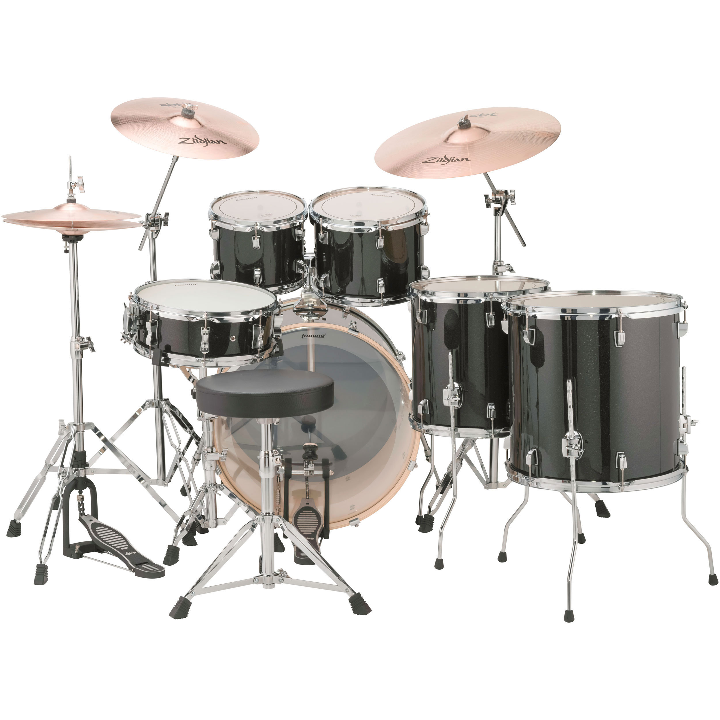 ludwig evolution 6 pc drum set with hardware cymbals 22 bass 10 12 14 16 toms 14 snare. Black Bedroom Furniture Sets. Home Design Ideas