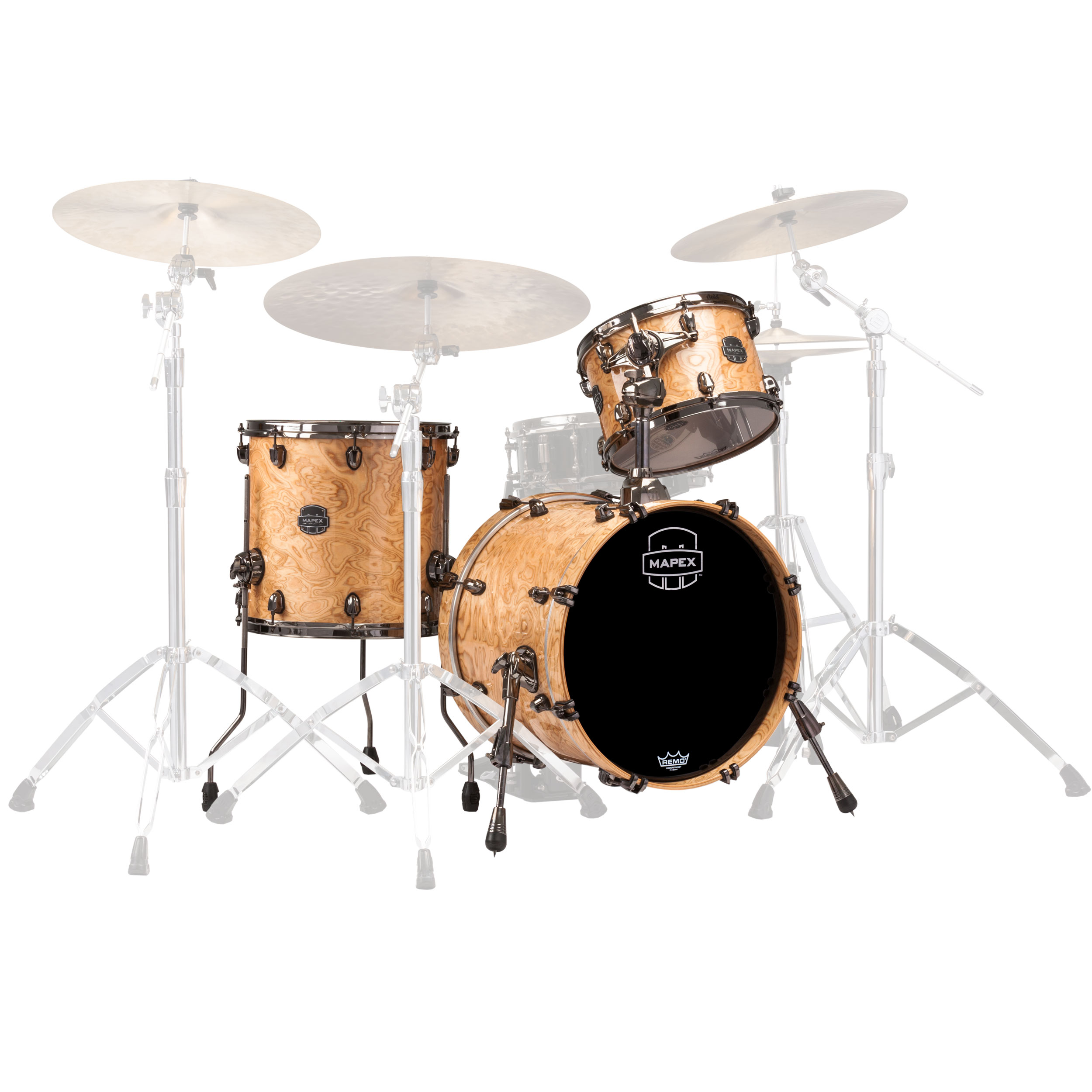 "Mapex Saturn V MH Exotic 3-Piece Jazz Drum Set Shell Pack (18"" Bass, 12/14"" Toms) in Natural Maple Burl"