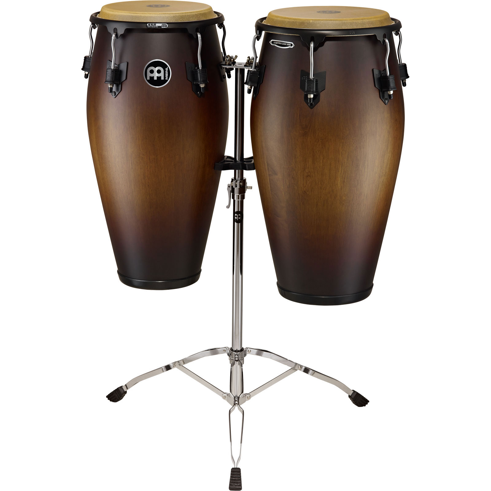 "Meinl 11"" & 11.75"" Marathon Classic Series Congas in Antique Tobacco Burst with Stand"
