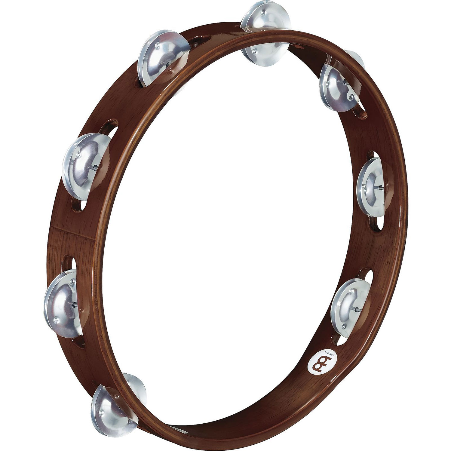 Meinl Single Row Wood Tambourine, Aluminum Jingles