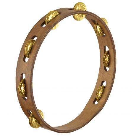 Meinl Vintage Wood Single Row Hammered Brass Tambourine