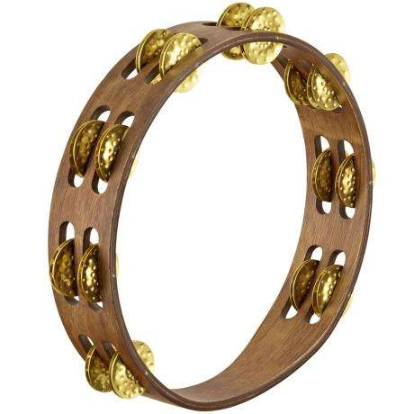 Meinl Vintage Wood Double Row Hammered Brass Tambourine