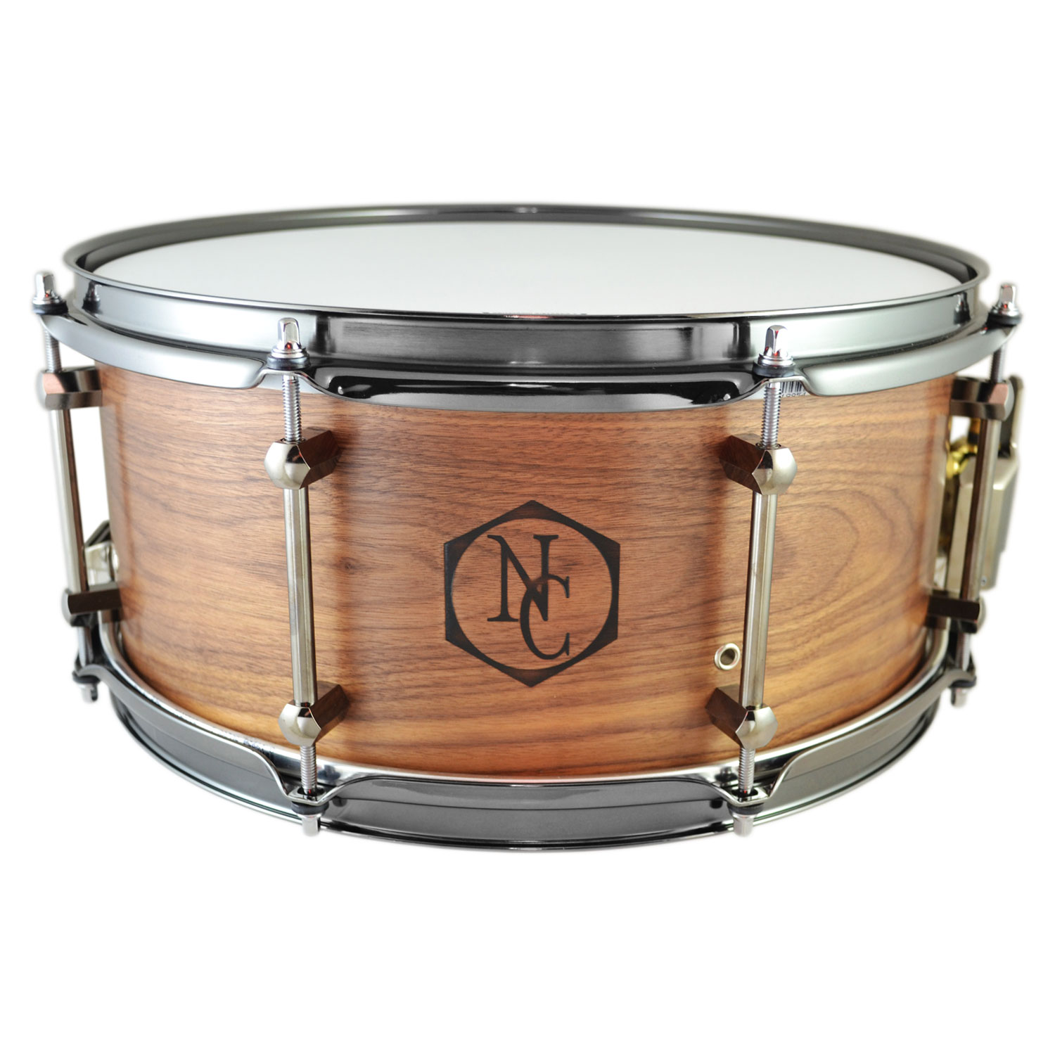 """Noble & Cooley 6.5"""" x 14"""" Walnut Snare Drum with Black Chrome Hardware"""