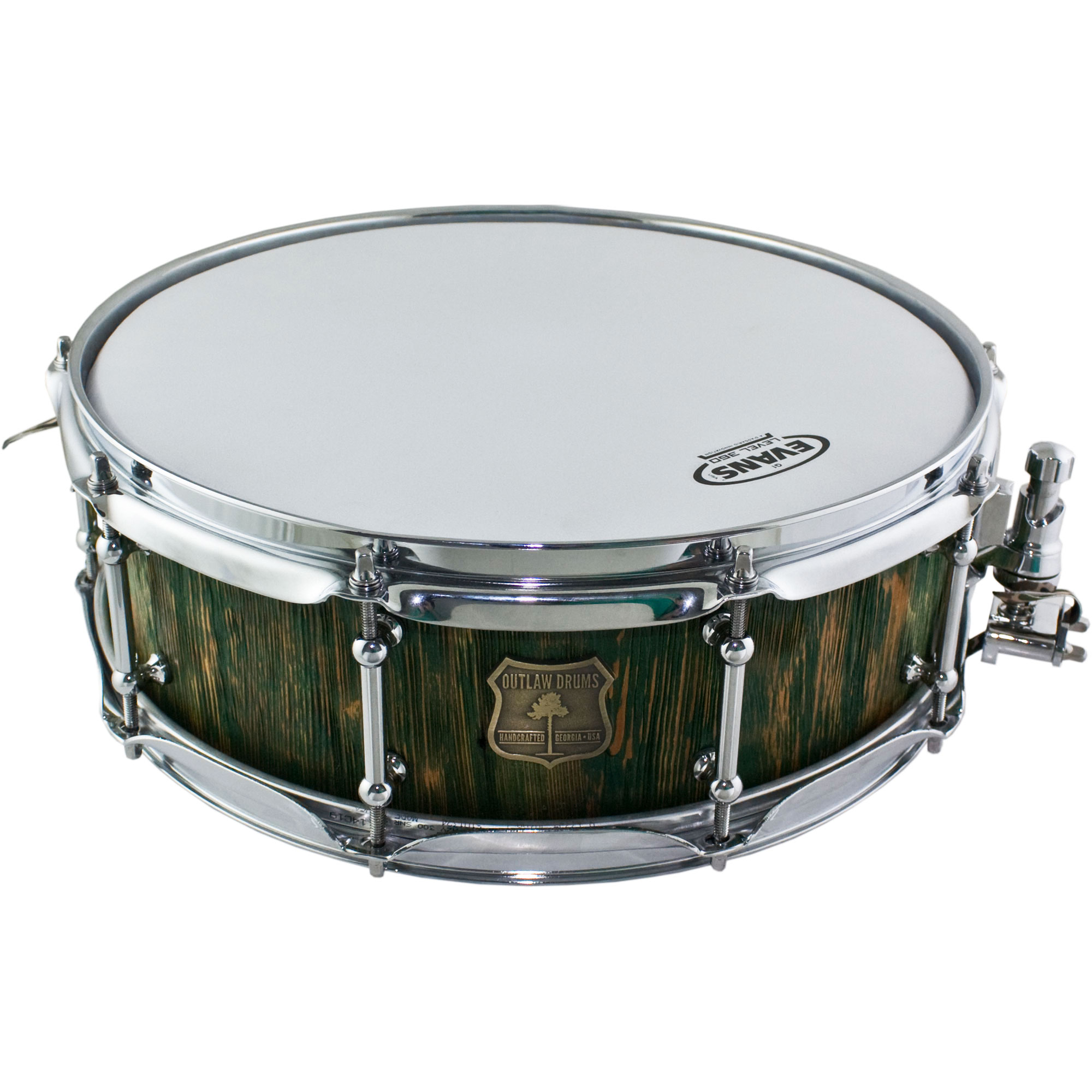 """Outlaw Drums 5"""" x 14"""" Weathered Heart Pine Reborn Snare Drum in Northern Moss"""