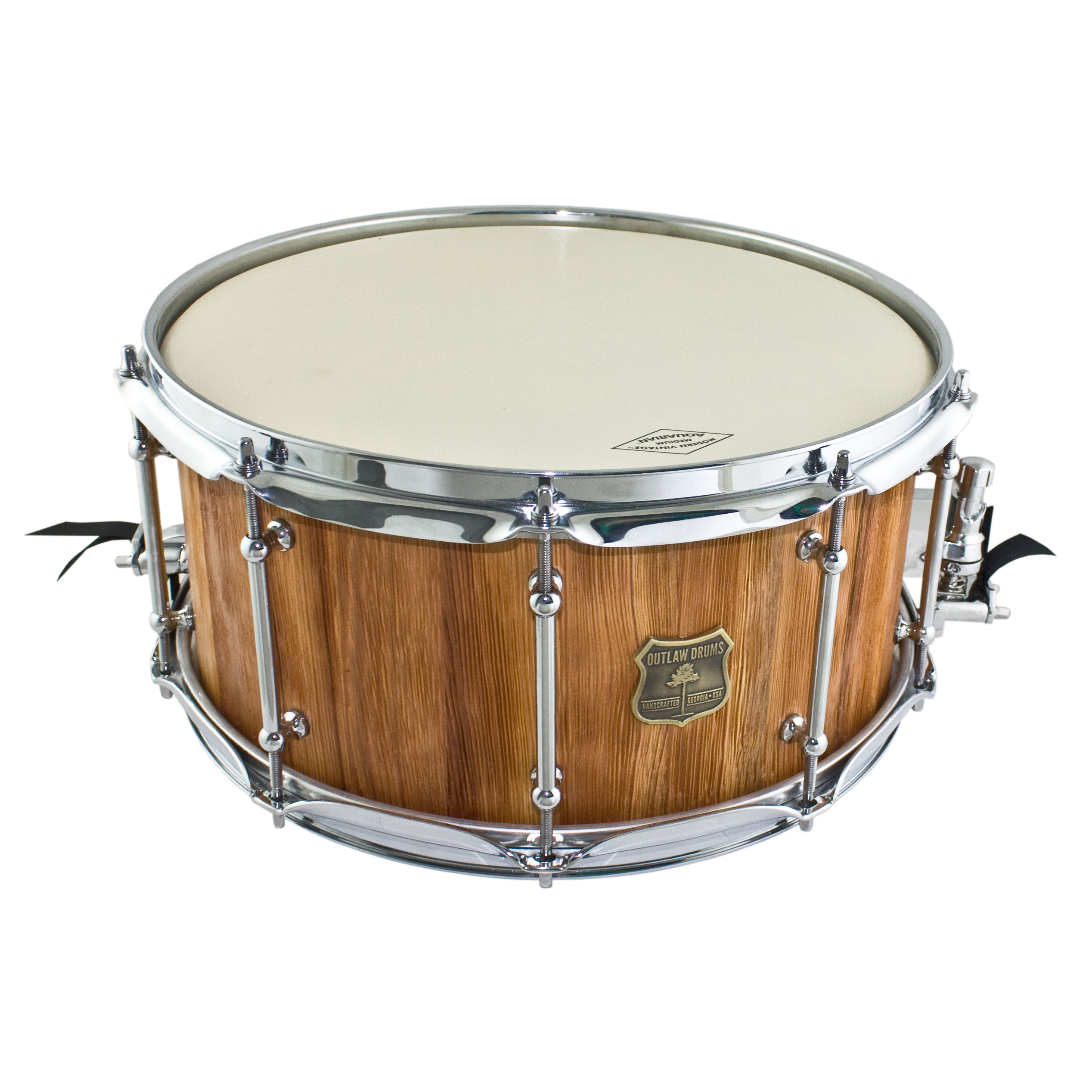 """Outlaw Drums 7"""" x 14"""" Weathered Heart Pine Reborn Snare Drum in Sunset Clear"""