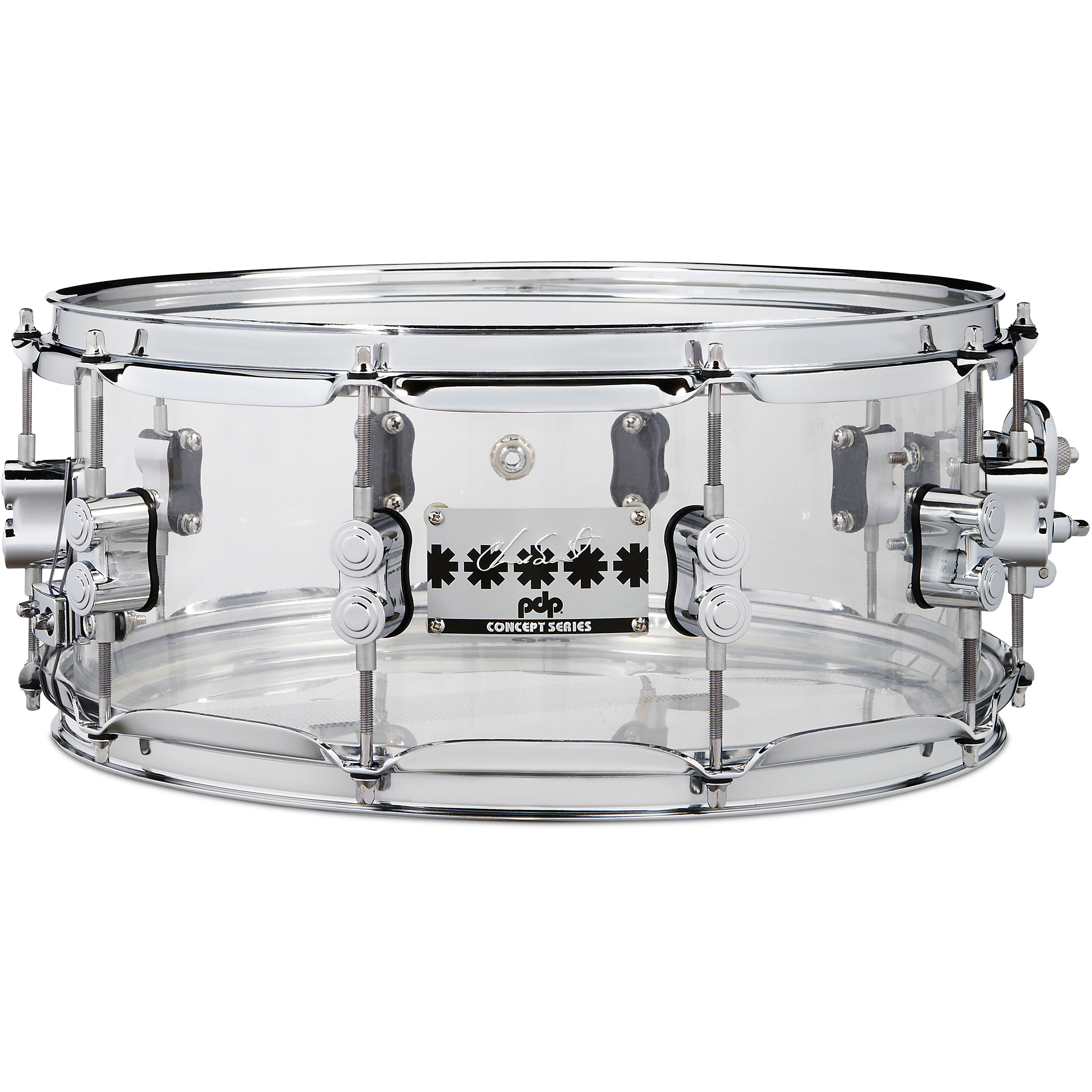 """PDP 6"""" x 14"""" Chad Smith Signature Clear Acrylic Snare Drum"""