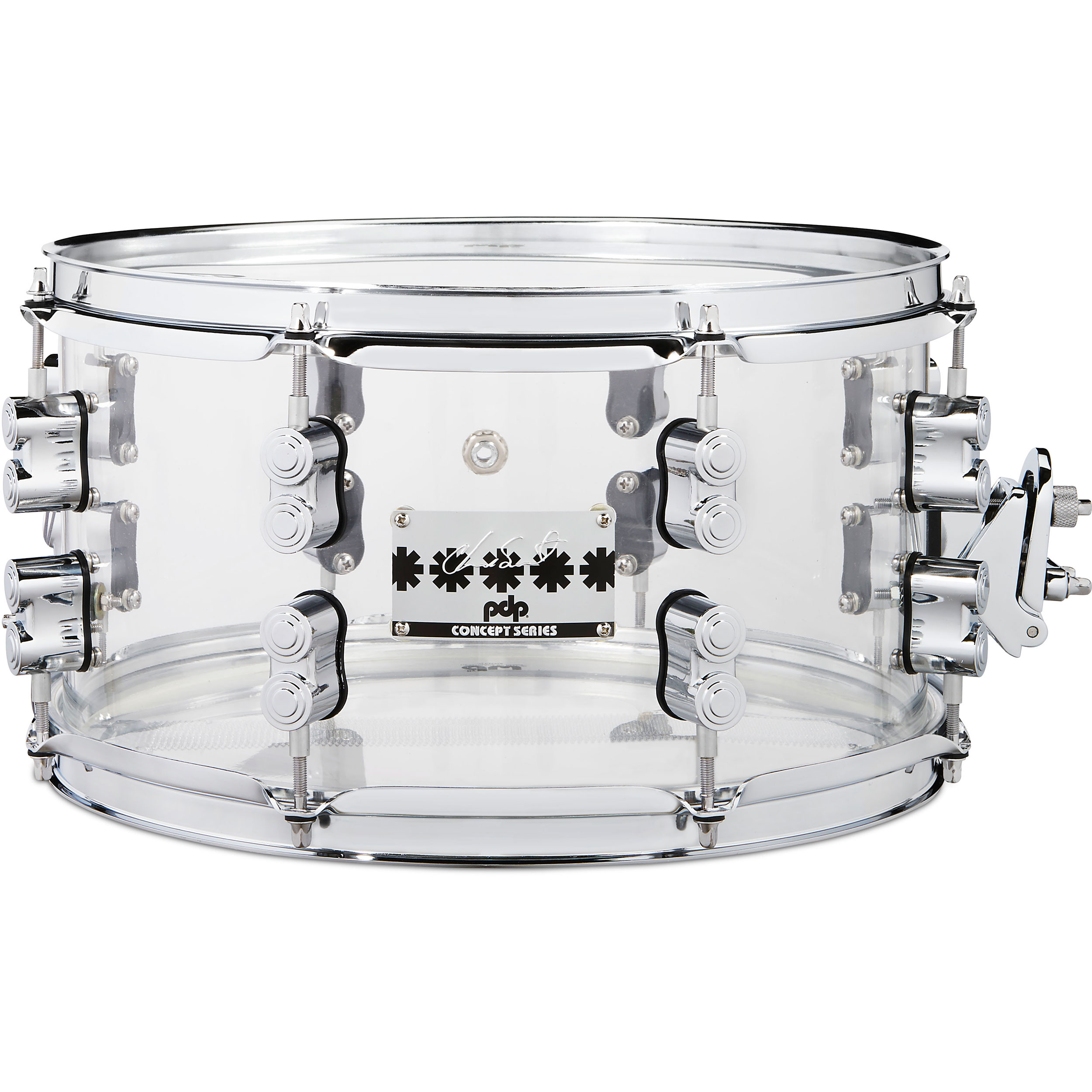 """PDP 7"""" x 13"""" Chad Smith Signature Clear Acrylic Snare Drum"""
