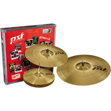Paiste PST3 Universal Pack 3-Piece Cymbal Box Set (Hi Hats, Crash, Ride)