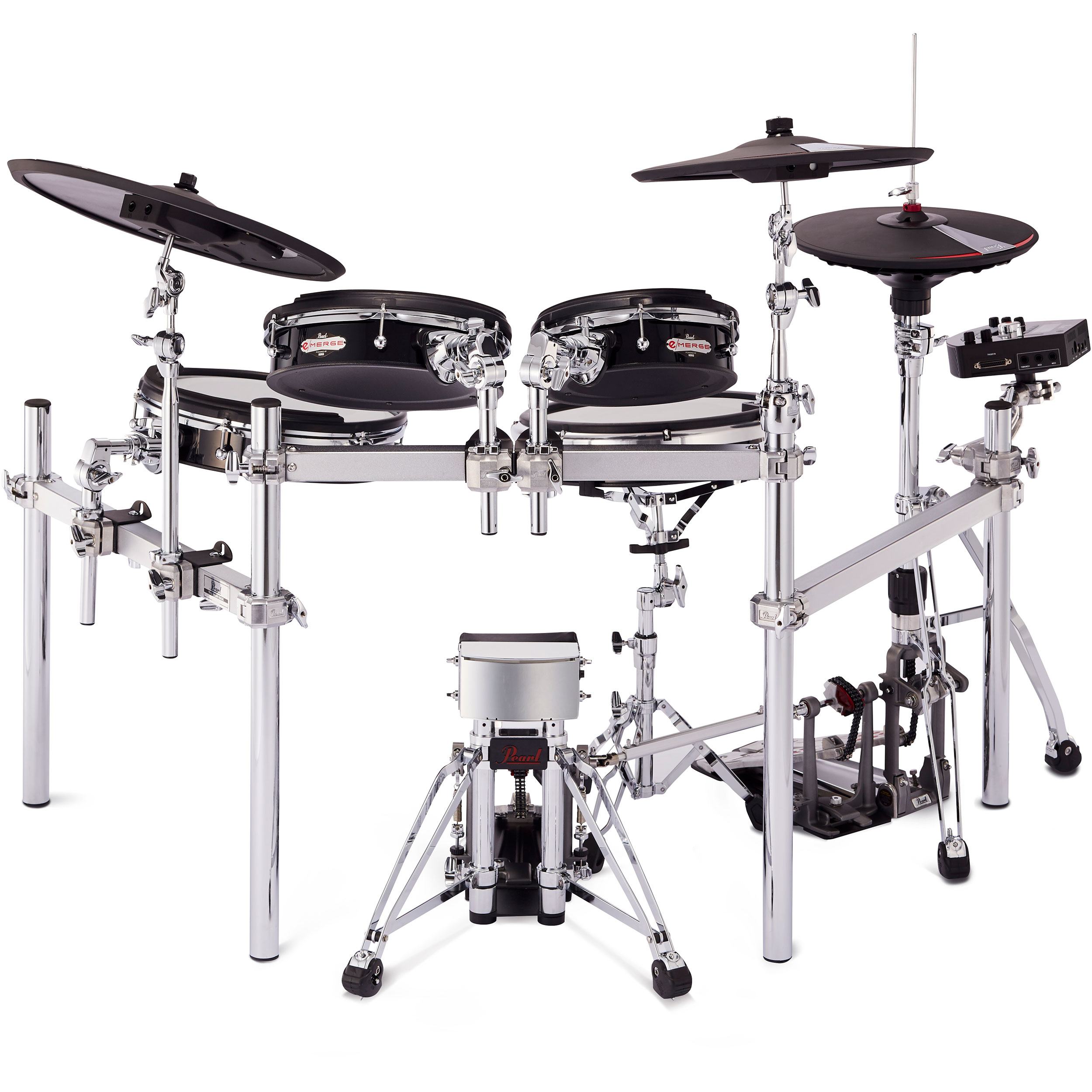 pearl e merge 5 piece traditional electronic drum set with hardware and cymbal pads em53t. Black Bedroom Furniture Sets. Home Design Ideas