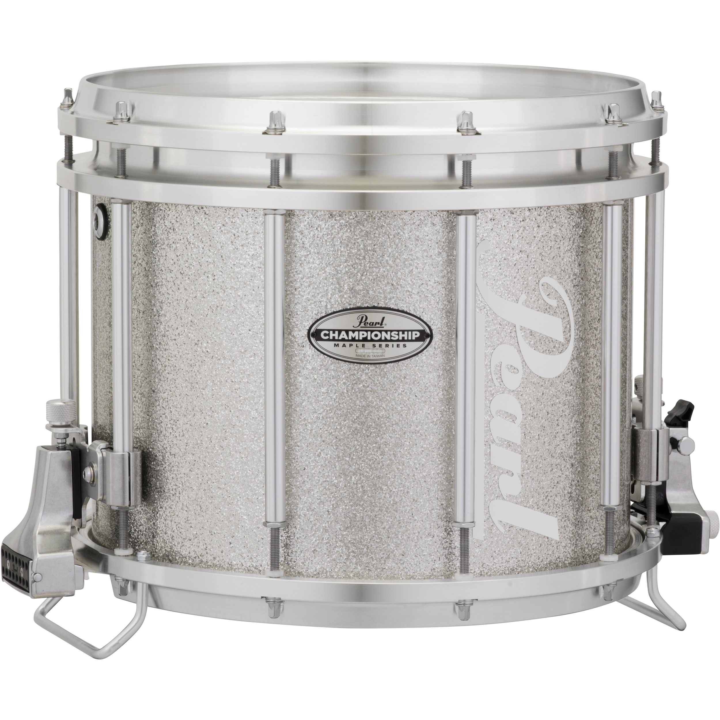 "Pearl 13"" (Diameter) x 11"" (Deep) FFXM Championship Maple Marching Snare Drum in Silver Sparkle"