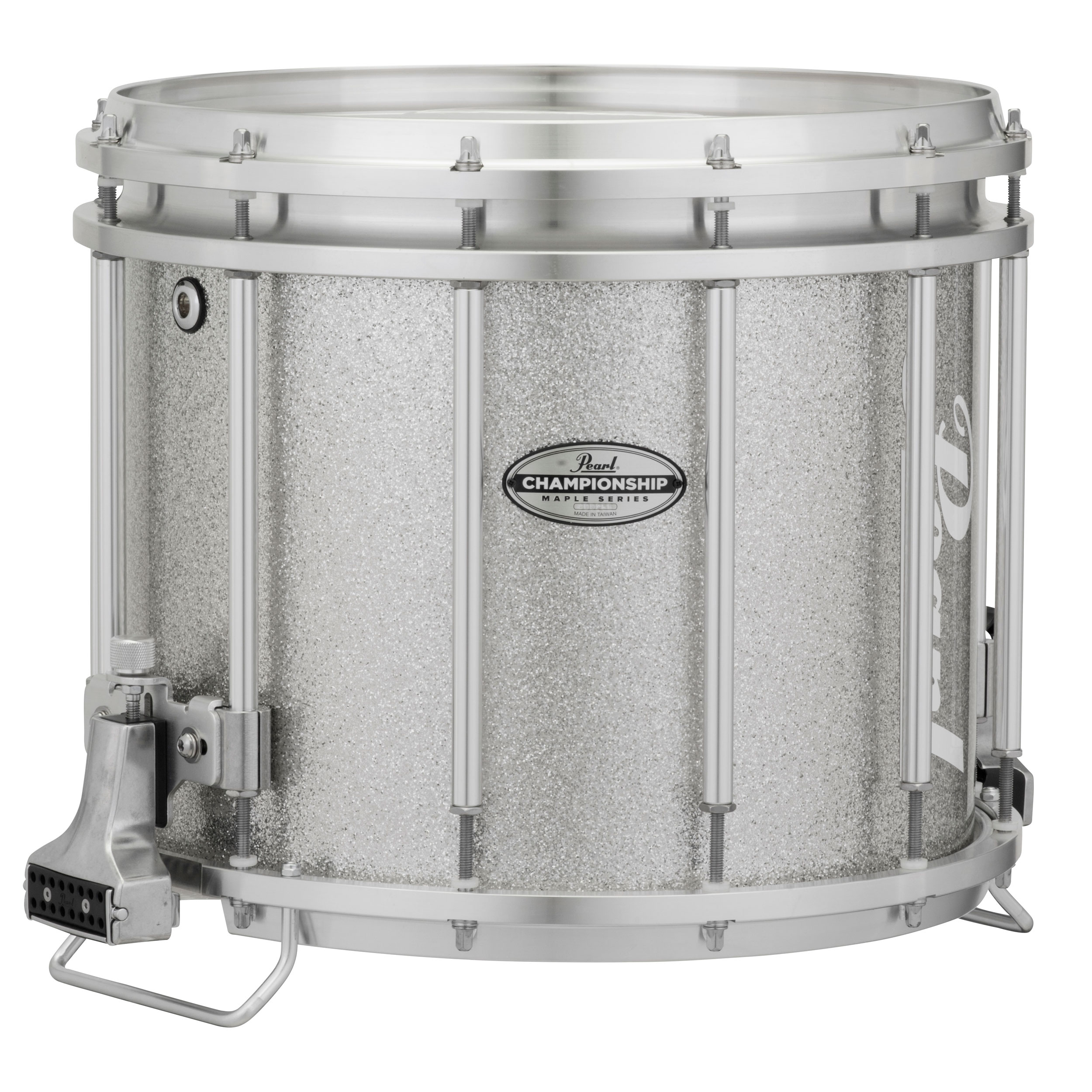 "Pearl 14"" (Diameter) x 12"" (Deep) FFXM Championship Maple Marching Snare Drum in Silver Sparkle"
