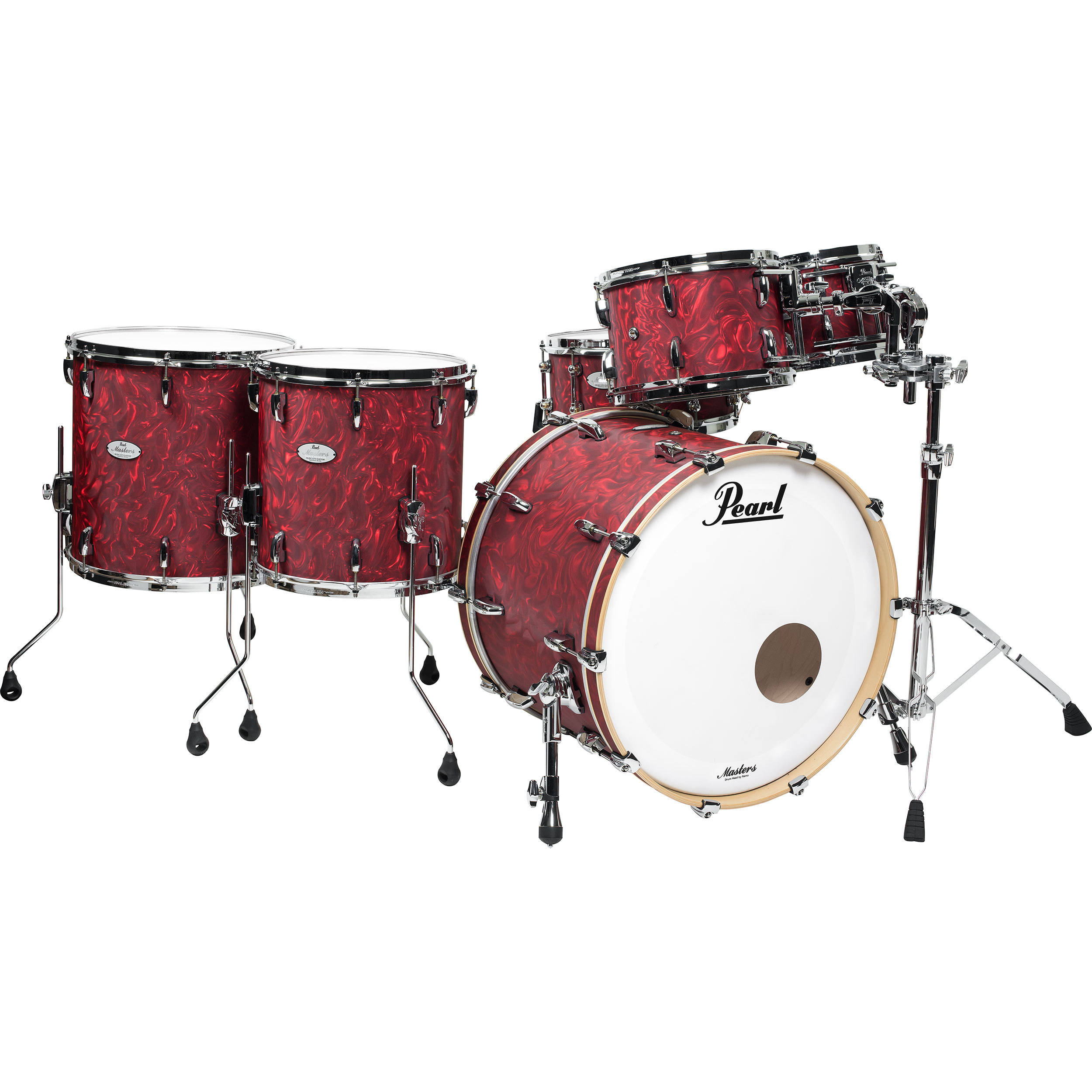 "Pearl Music City Masters Maple Reserve 6-Piece Shell Pack (22"" Bass, 10/12/14/16"" Toms, 14"" Snare) in Cranberry Satin Swirl (Demo)"