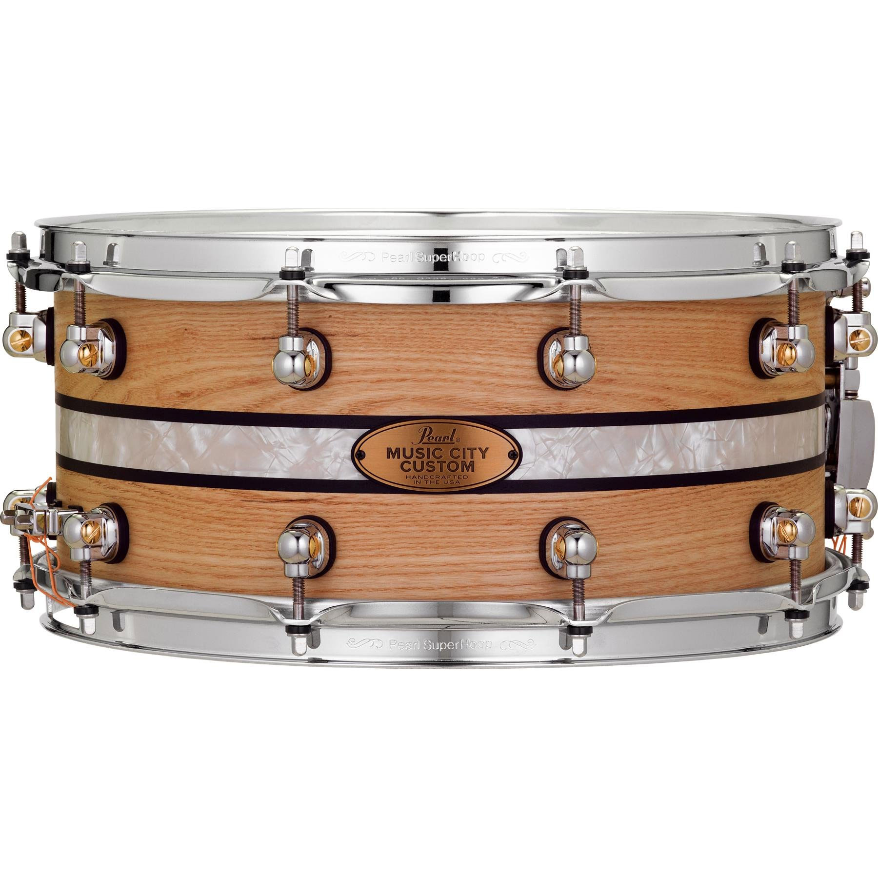 "Pearl 14"" x 6.5"" Music City Custom Solid Ash Snare Drum with DuoBand Ebony Marine Inlay"