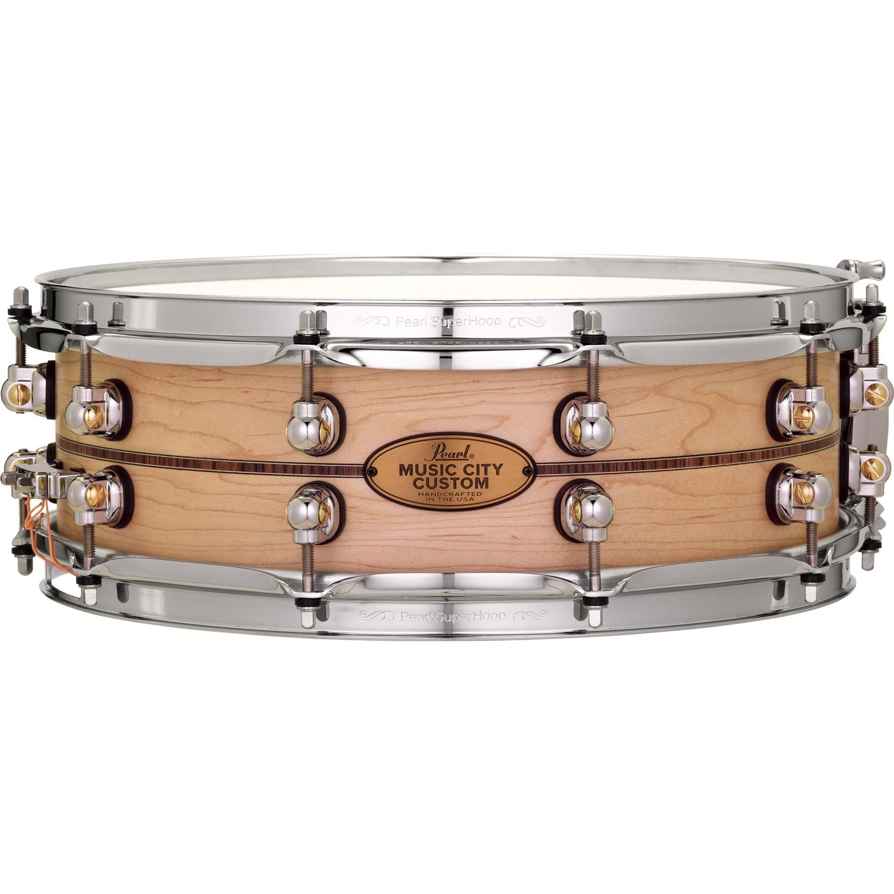 "Pearl 14"" x 5"" Music City Custom Solid Maple Snare Drum with Kingwood Center Inlay"