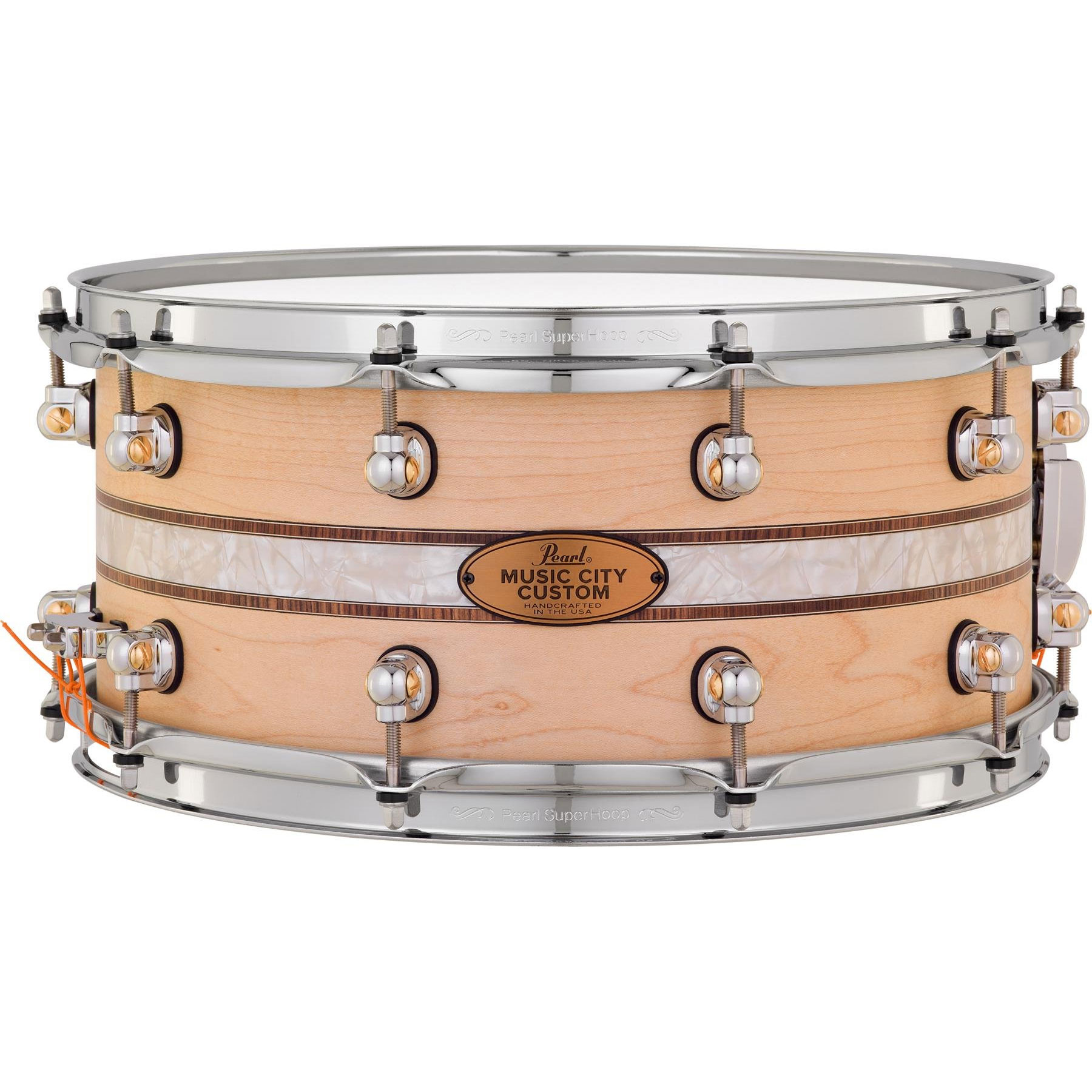 "Pearl 14"" x 6.5"" Music City Custom Solid Maple Snare Drum with Kingwood Royal Inlay"