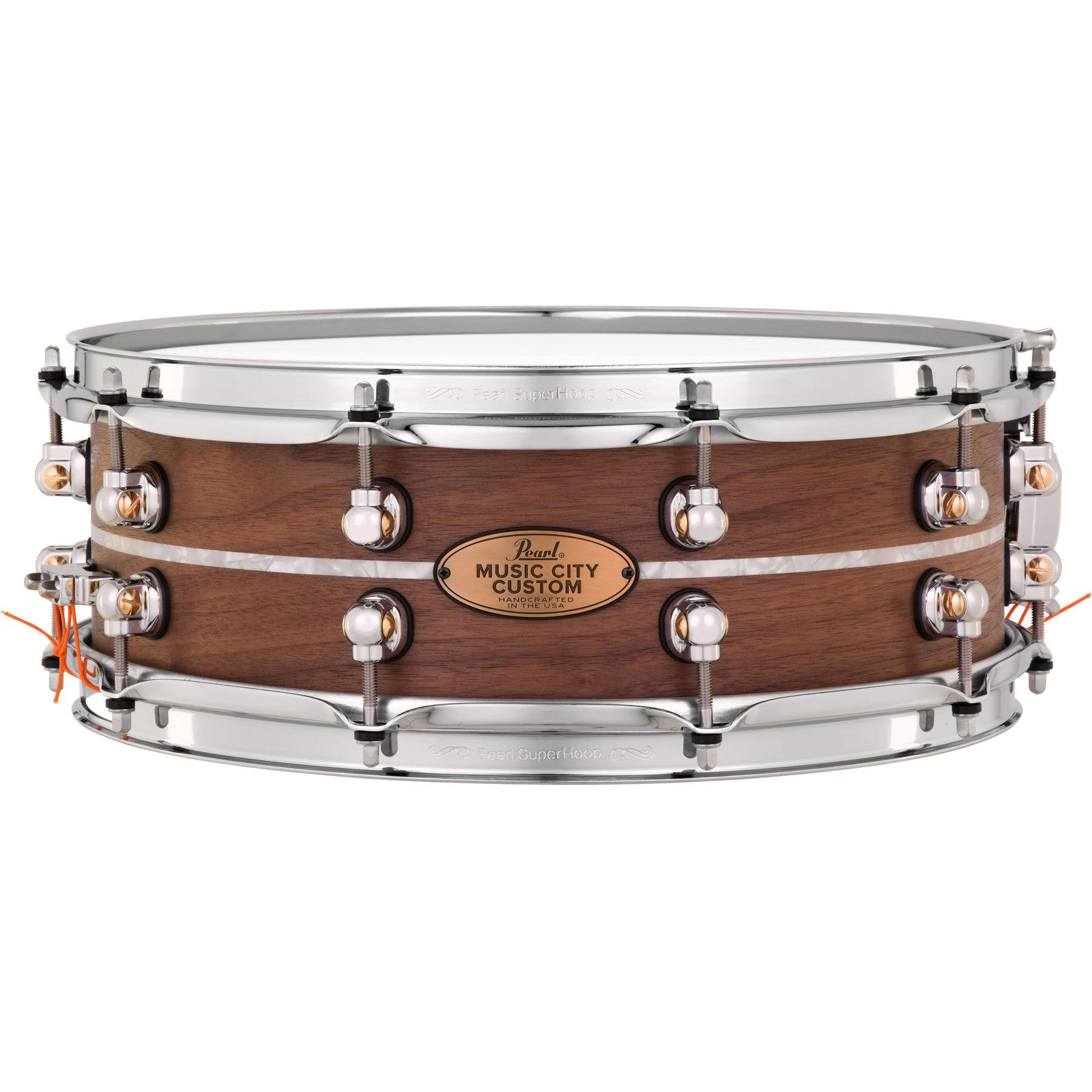 "Pearl 14"" x 5"" Music City Custom Solid Walnut Snare Drum with Nicotine Marine Pearl Inlay"