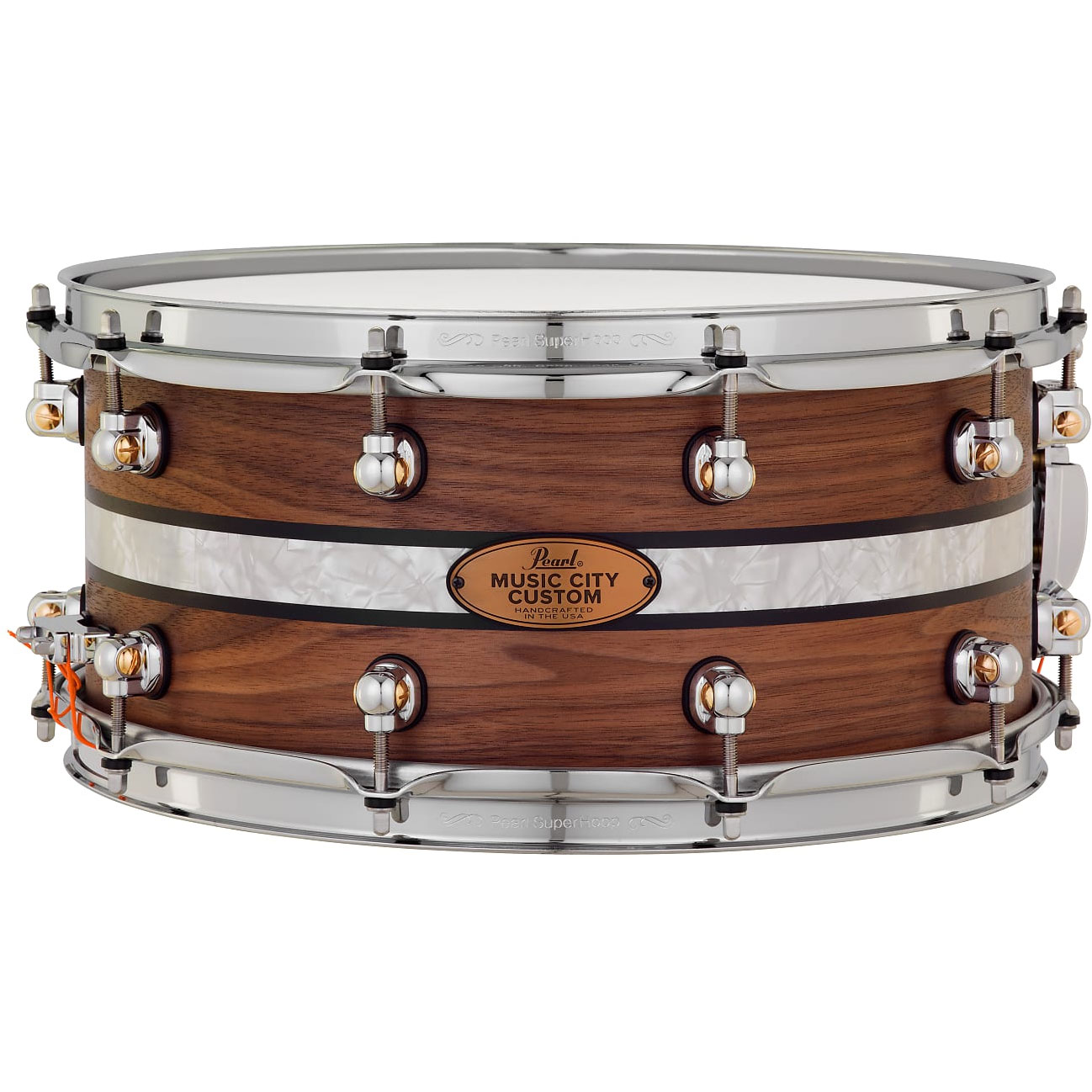 "Pearl 14"" x 6.5"" Music City Custom Solid Walnut Snare Drum with DuoBand Ebony Marine Inlay"