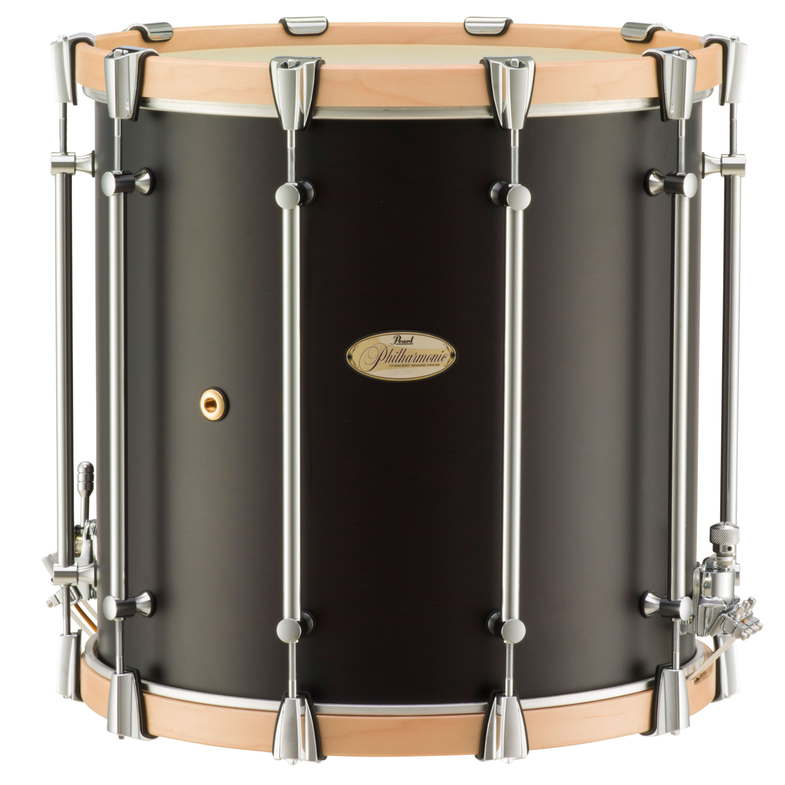 "Pearl 16"" x 16"" Philharmonic 4-Ply African Mahogany Concert Field Drum with Natural Maple Hoops in Matte Walnut"